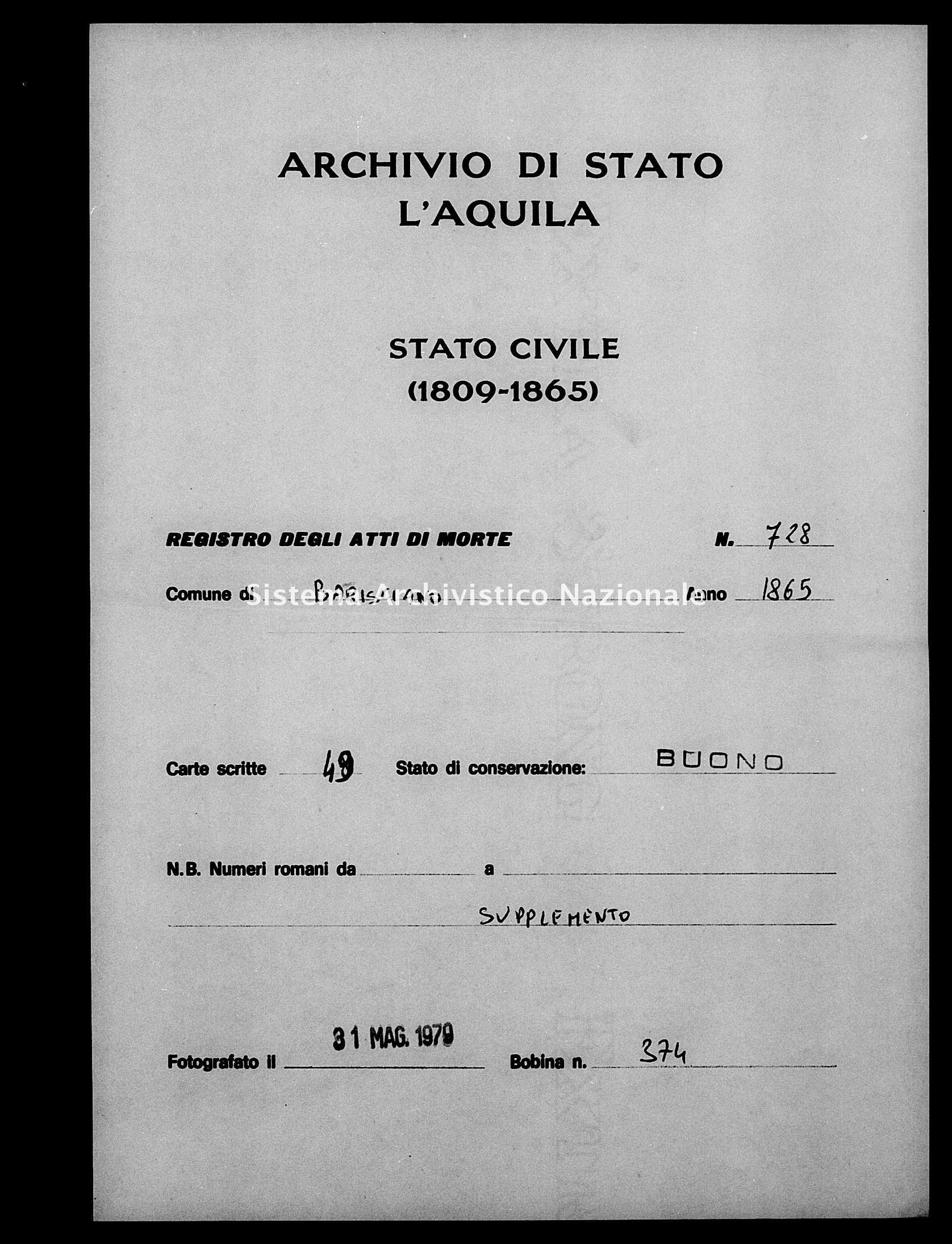 Archivio di stato di L'aquila - Stato civile italiano - Barisciano - Morti, sepoltura - 1865 - 728 -