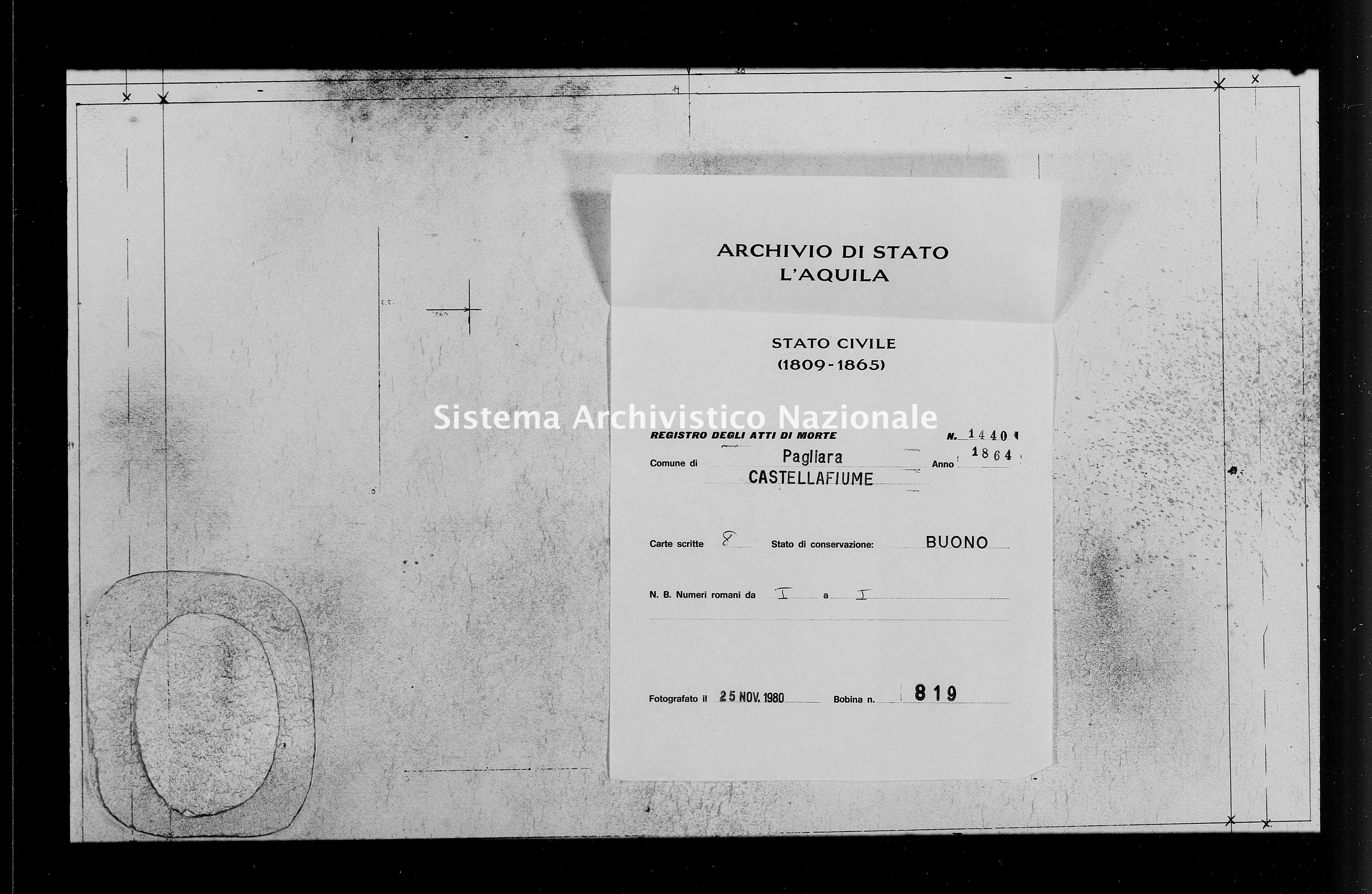 Archivio di stato di L'aquila - Stato civile italiano - Pagliara - Morti - 1864 - 1440 -