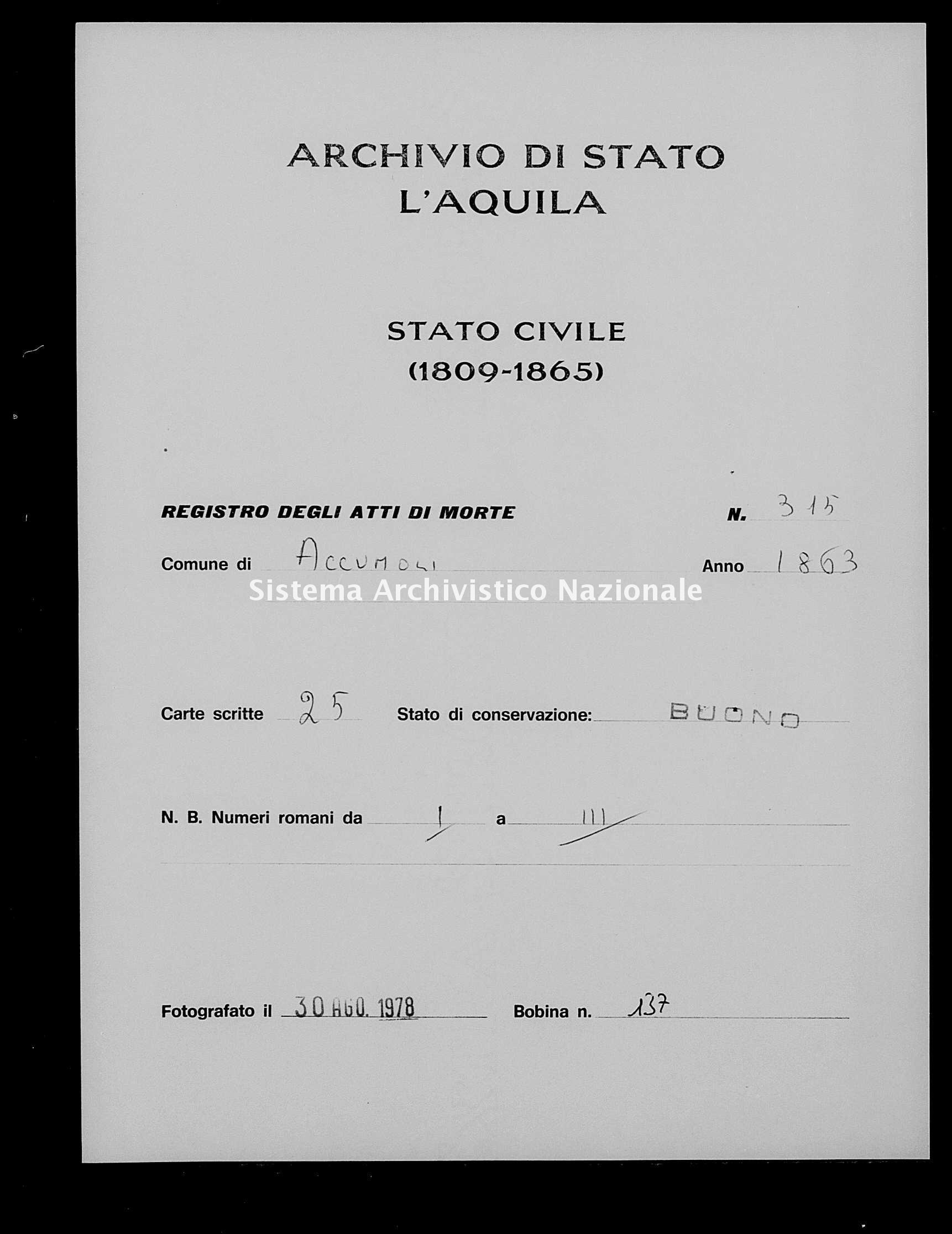 Archivio di stato di L'aquila - Stato civile italiano - Accumoli - Morti - 1863 - 3145 -