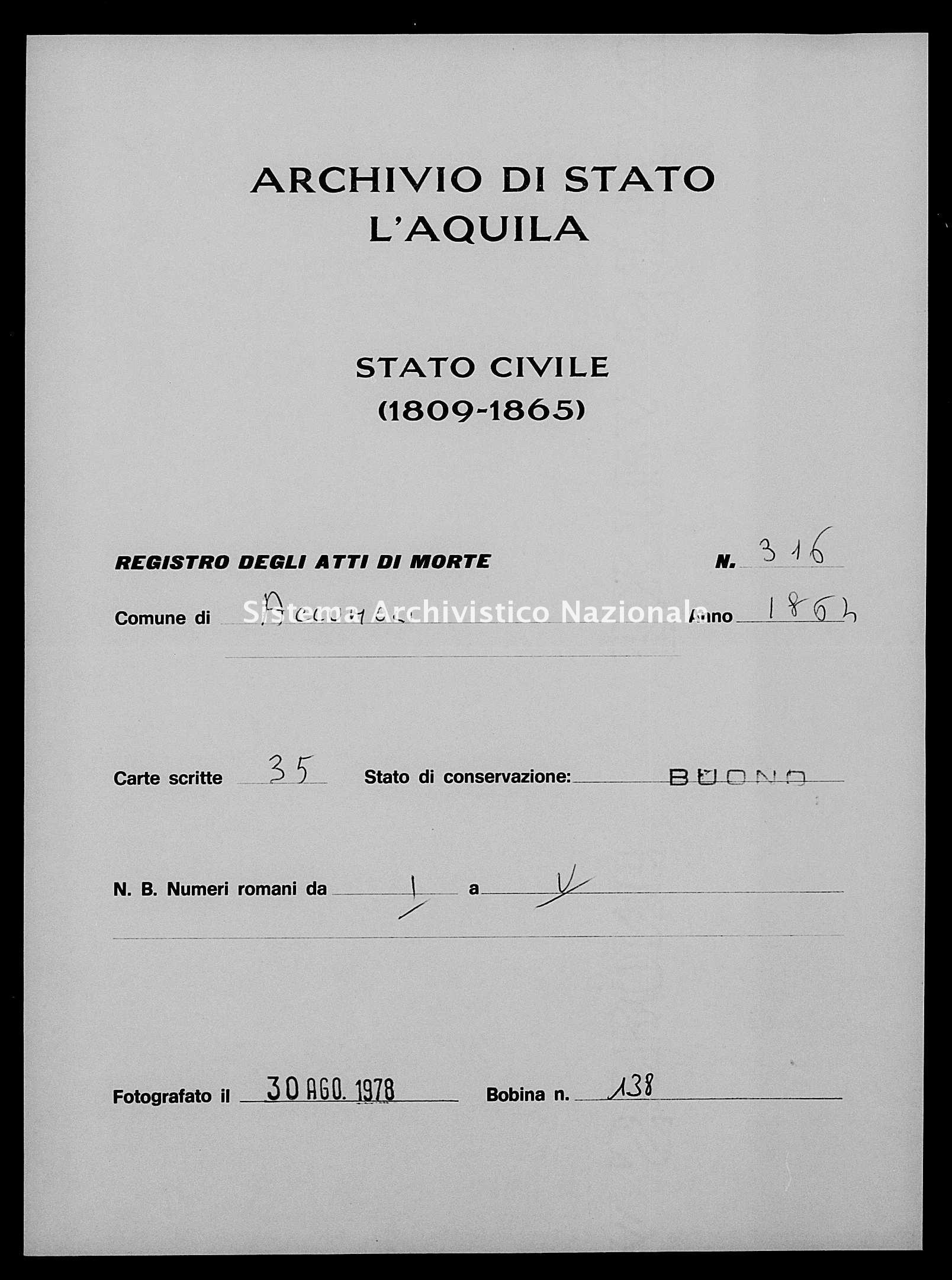 Archivio di stato di L'aquila - Stato civile italiano - Accumoli - Morti - 1864 - 316 -