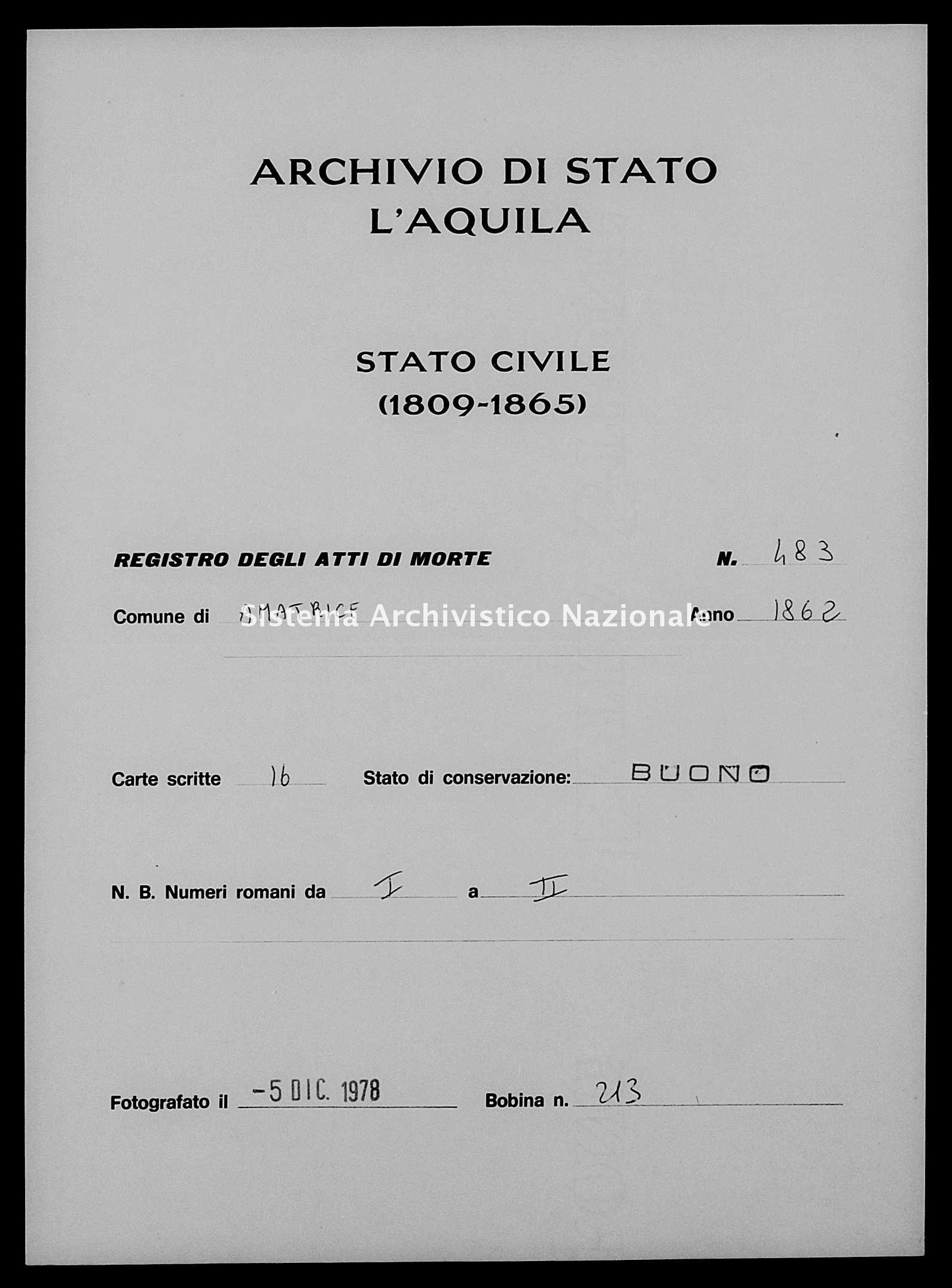 Archivio di stato di L'aquila - Stato civile italiano - Amatrice - Morti - 1862 - 483 -
