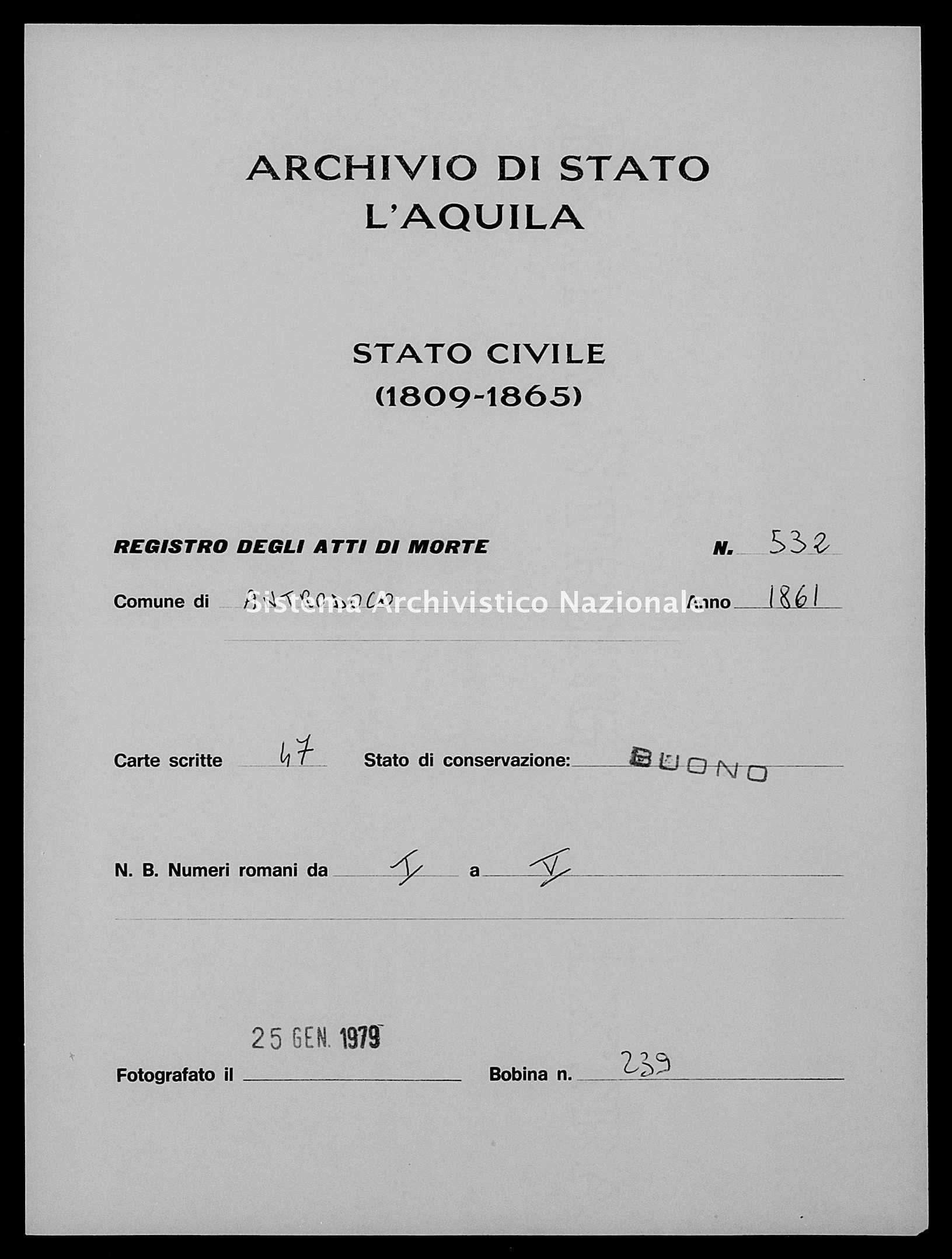 Archivio di stato di L'aquila - Stato civile italiano - Antrodoco - Morti - 1861 - 532 -