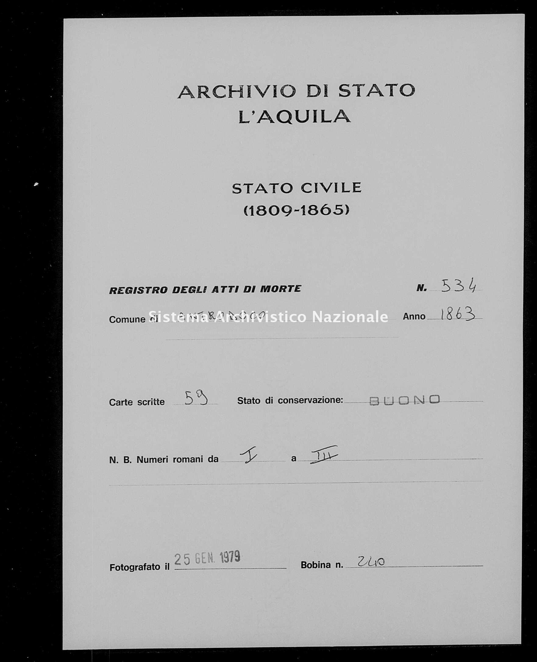 Archivio di stato di L'aquila - Stato civile italiano - Antrodoco - Morti - 1863 - 534 -