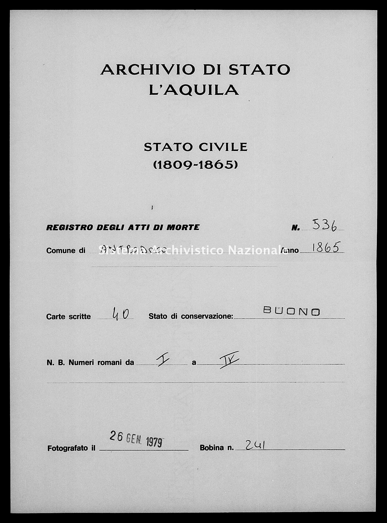 Archivio di stato di L'aquila - Stato civile italiano - Antrodoco - Morti - 1865 - 536 -