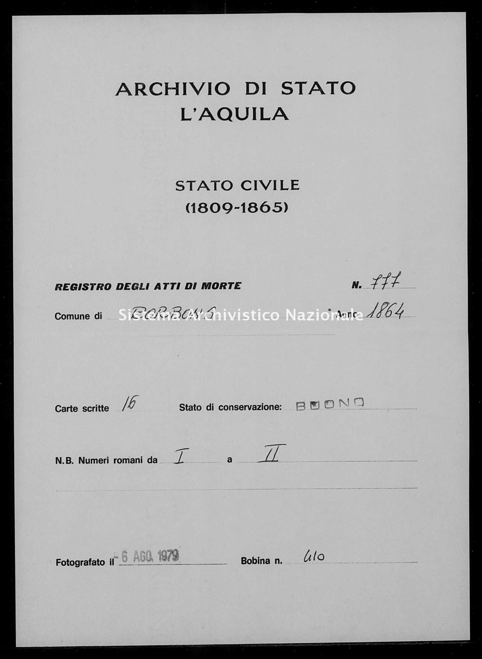 Archivio di stato di L'aquila - Stato civile italiano - Borbona - Morti - 1864 - 777 -