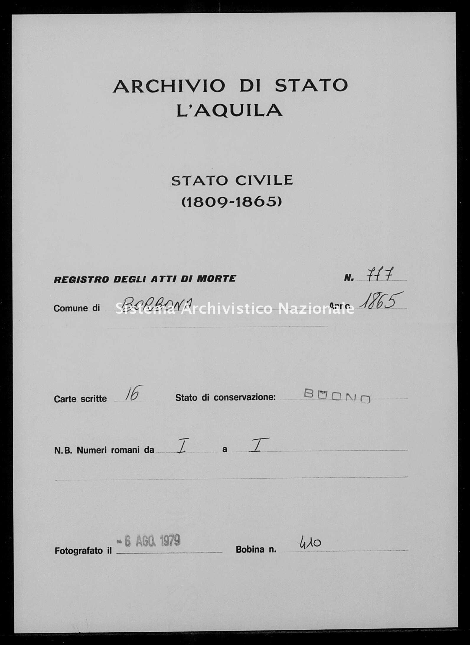 Archivio di stato di L'aquila - Stato civile italiano - Borbona - Morti - 1865 - 777 -