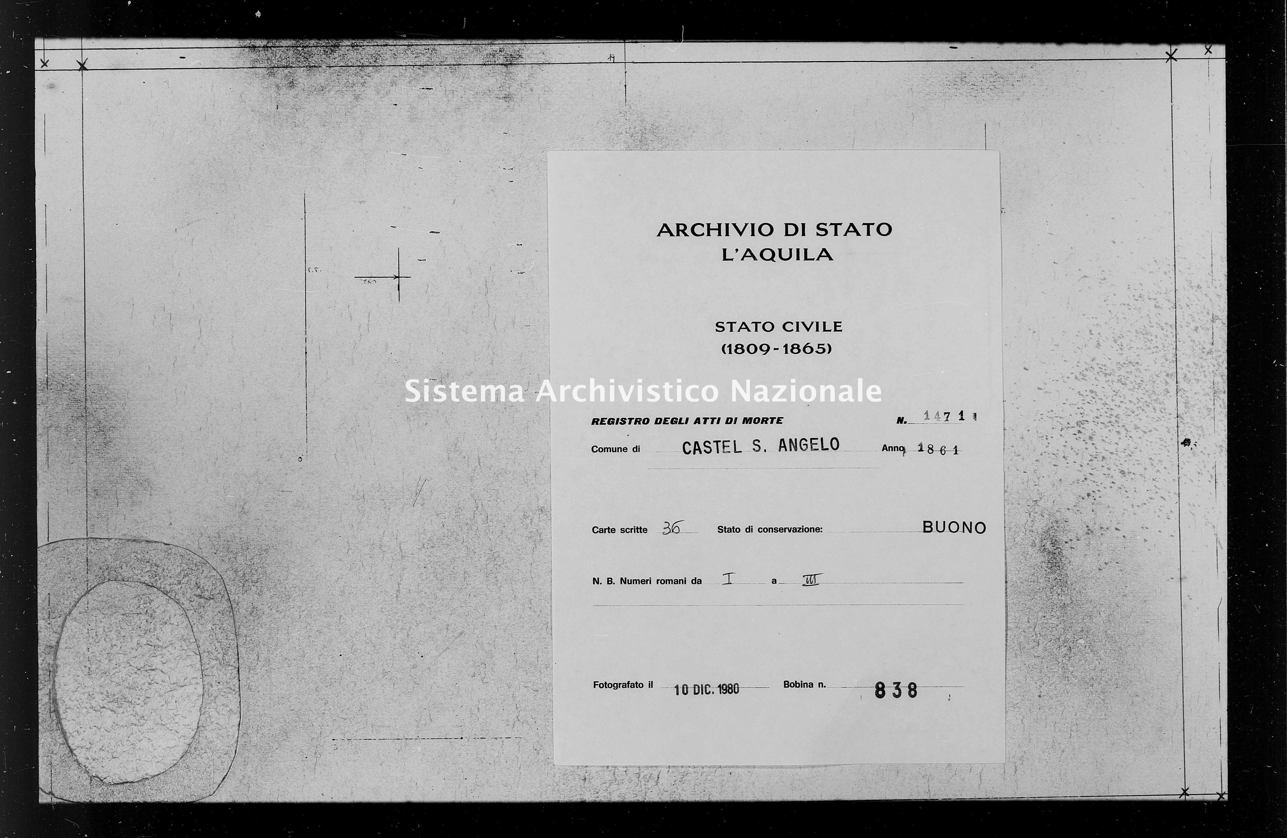 Archivio di stato di L'aquila - Stato civile italiano - Castel Sant'Angelo - Morti - 1861 - 1471 -