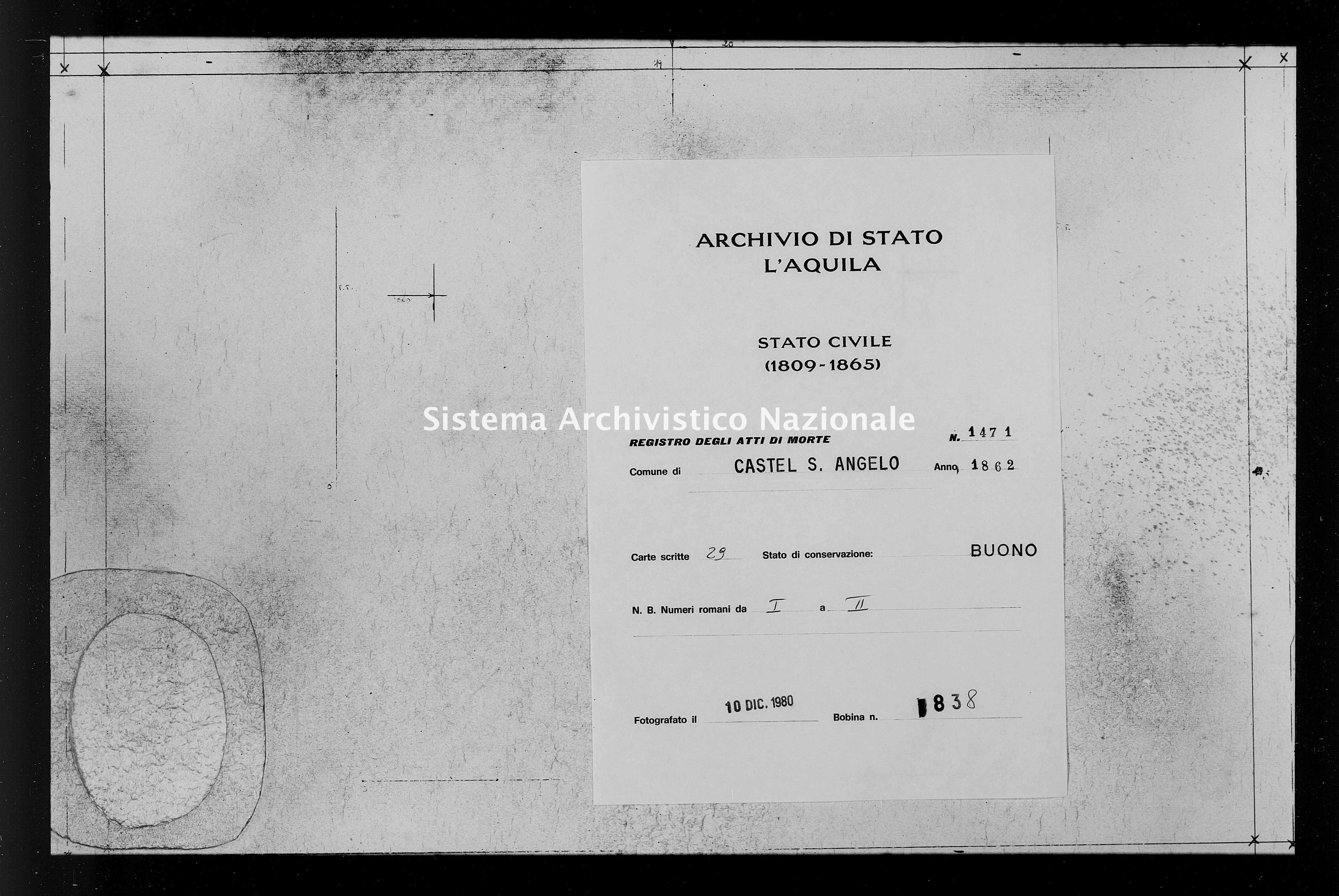 Archivio di stato di L'aquila - Stato civile italiano - Castel Sant'Angelo - Morti - 1862 - 1471 -