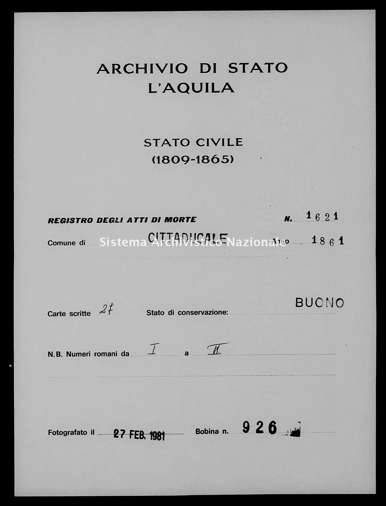 Archivio di stato di L'aquila - Stato civile italiano - Cittaducale - Morti - 1861 - 1621 -
