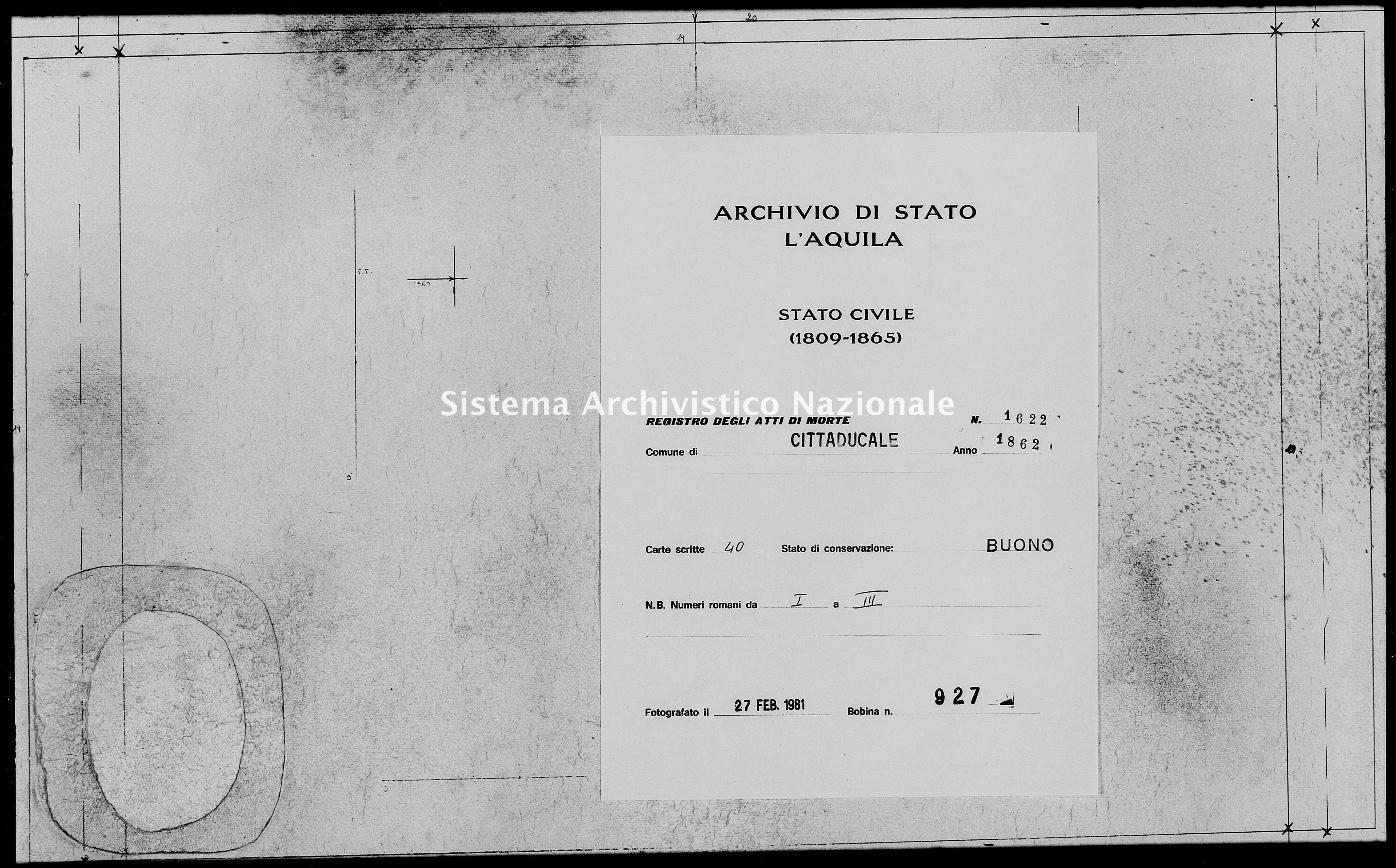 Archivio di stato di L'aquila - Stato civile italiano - Cittaducale - Morti - 1862 - 1622 -