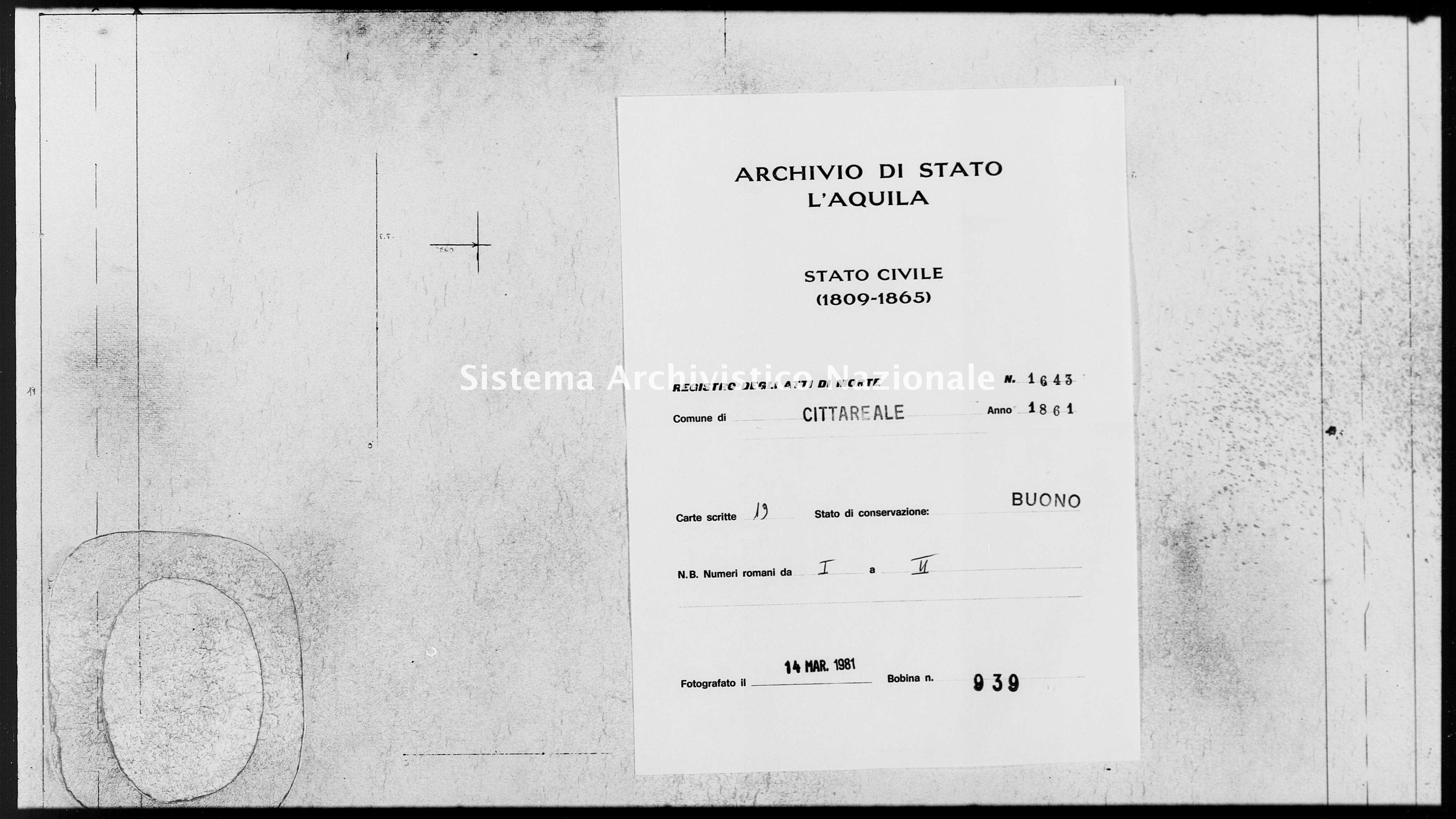 Archivio di stato di L'aquila - Stato civile italiano - Cittareale - Morti - 1861 - 1643 -