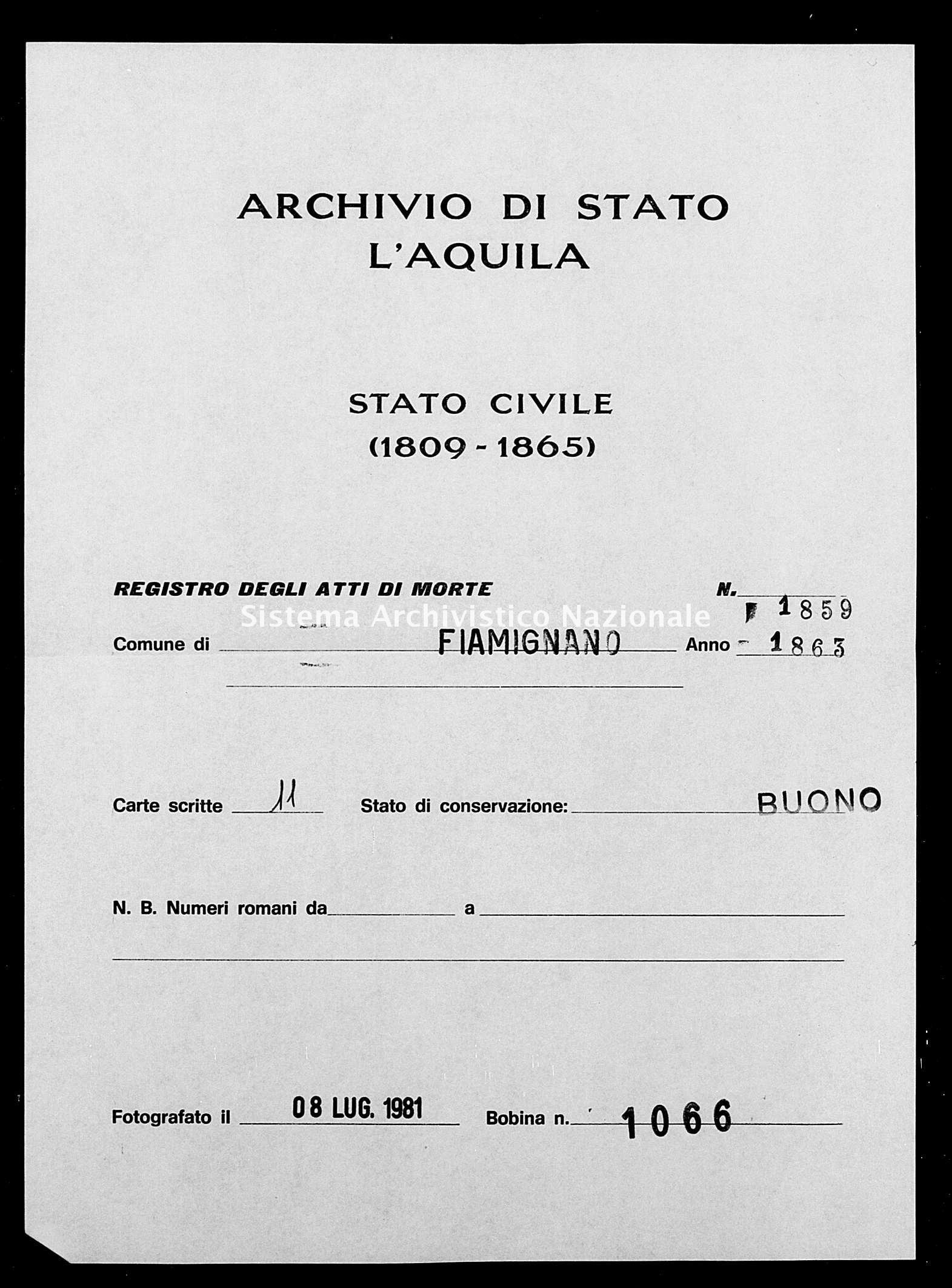 Archivio di stato di L'aquila - Stato civile italiano - Fiamignano - Morti - 1863 - 1859 -