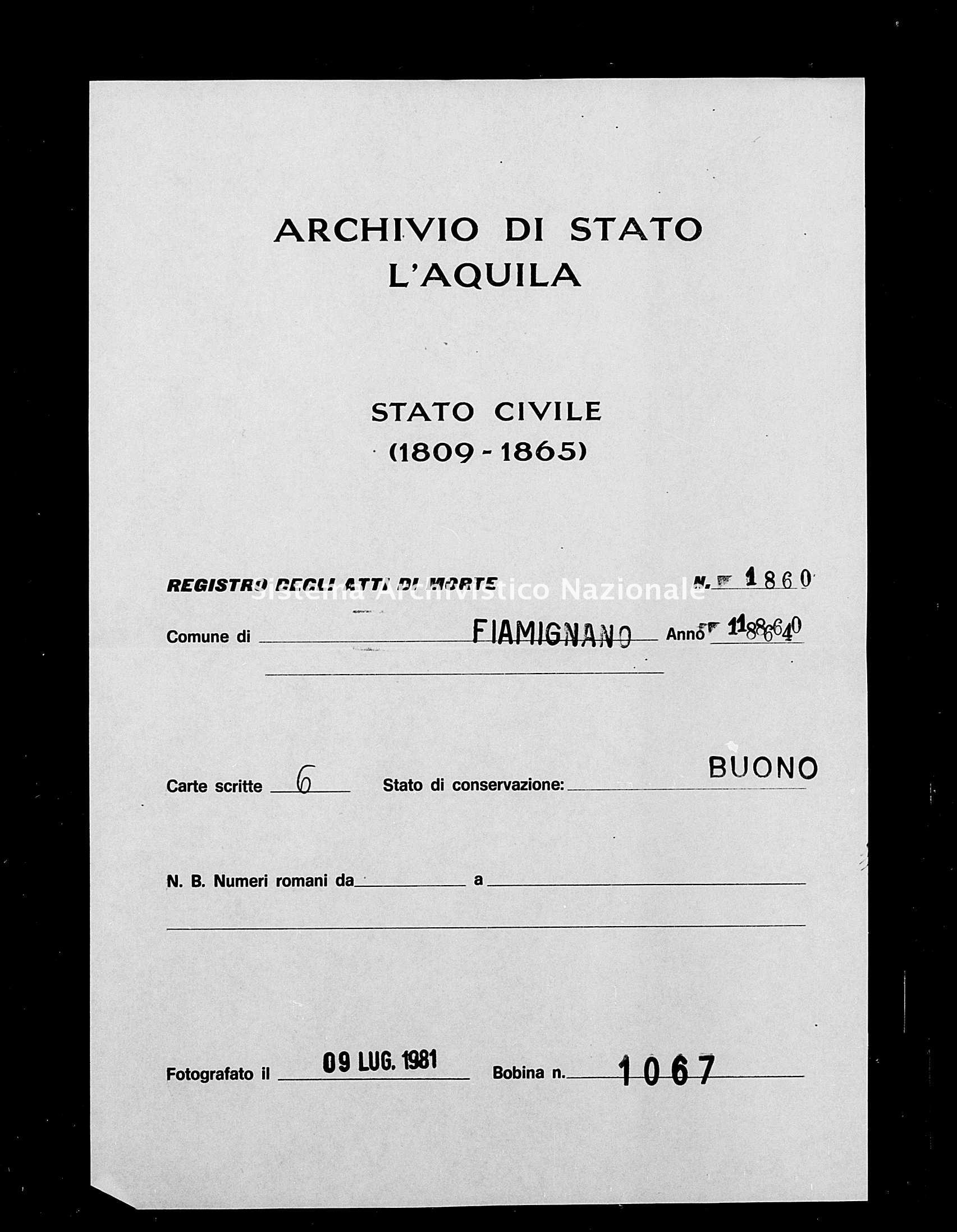 Archivio di stato di L'aquila - Stato civile italiano - Fiamignano - Morti - 1864 - 1860 -
