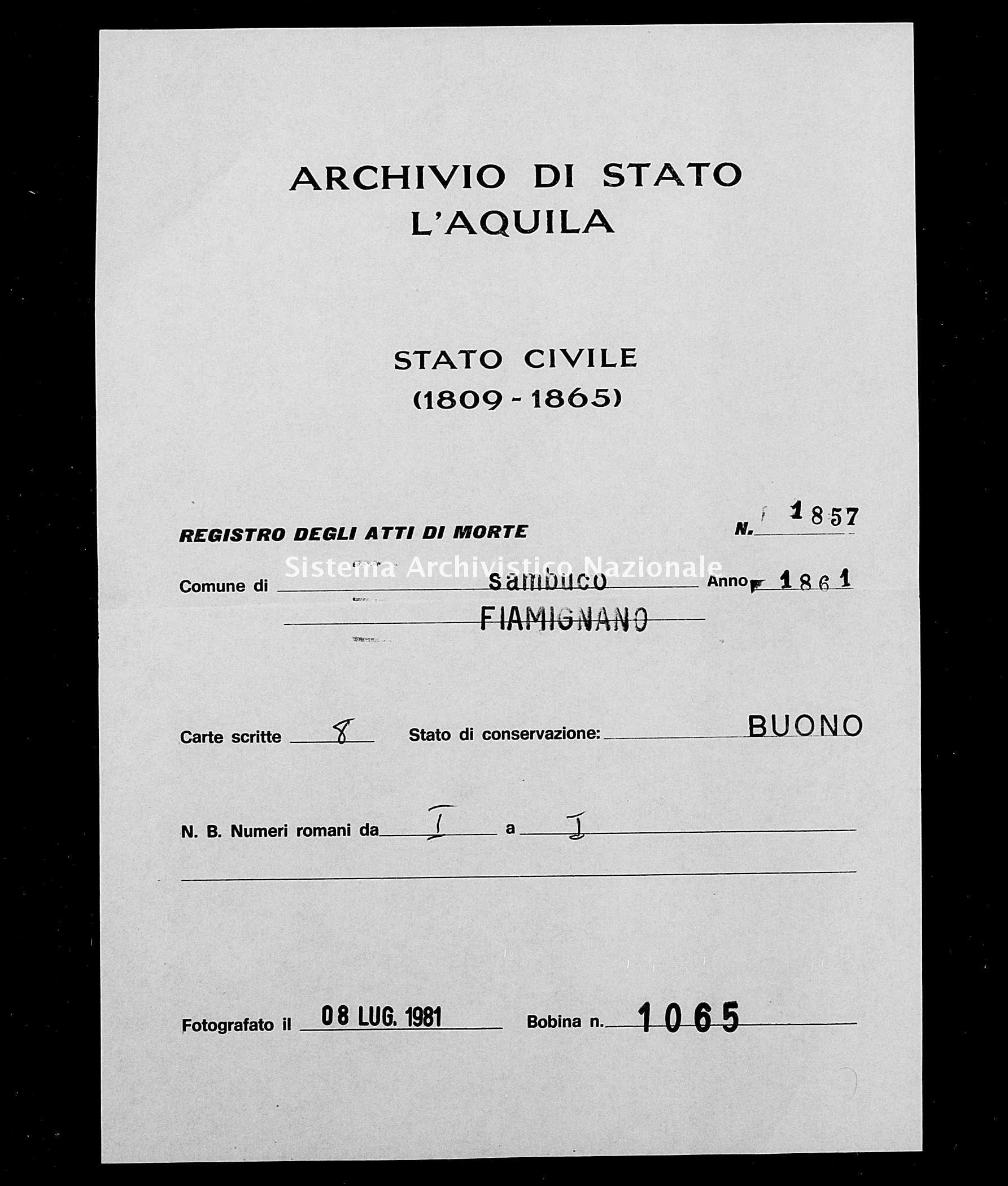 Archivio di stato di L'aquila - Stato civile italiano - Sambuco - Morti - 1861 - 1857 -