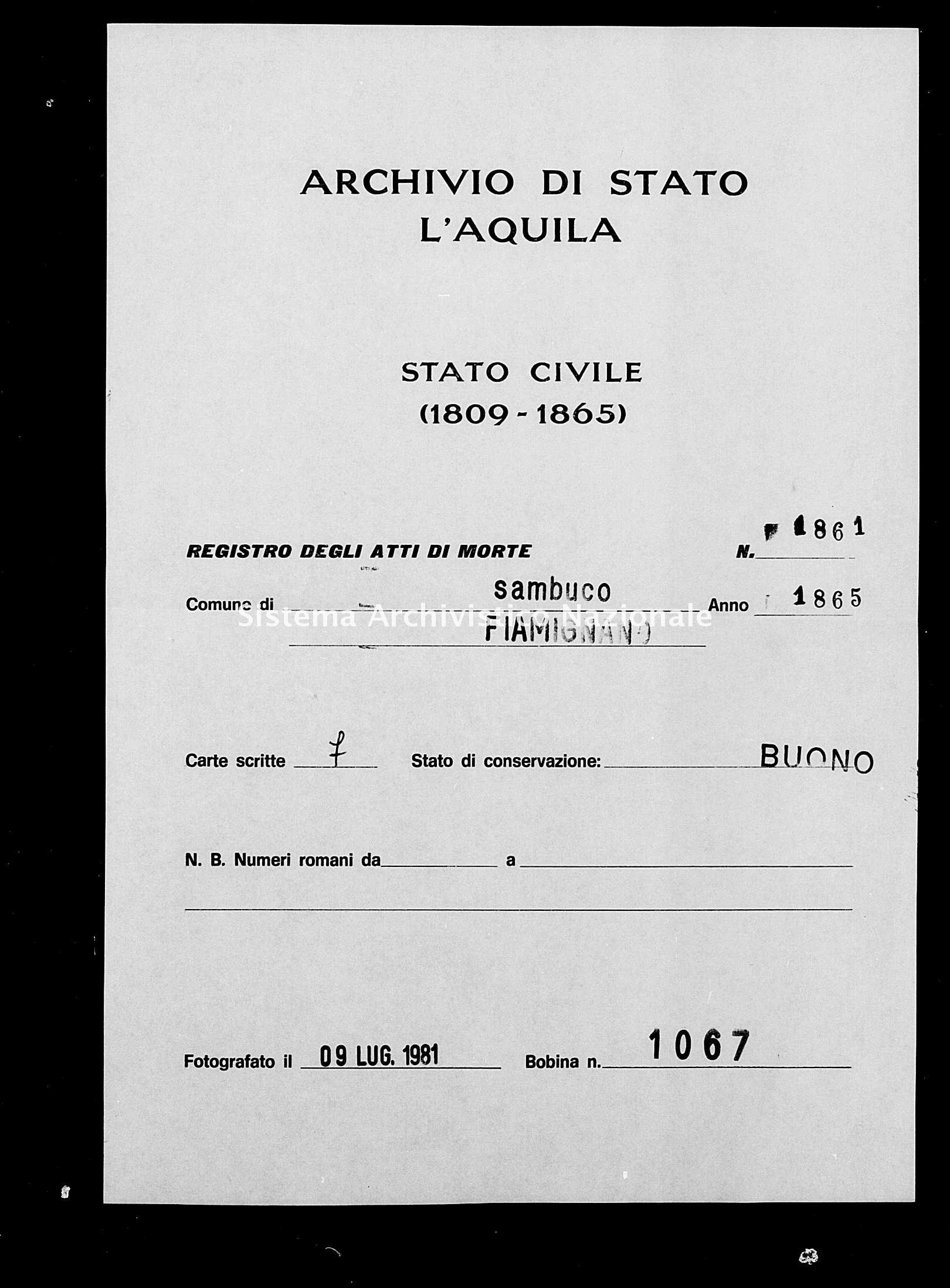 Archivio di stato di L'aquila - Stato civile italiano - Sambuco - Morti - 1865 - 1861 -