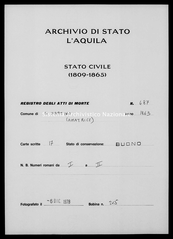 Archivio di stato di L'aquila - Stato civile italiano - San-Martino-(Amatrice)- - Morti - 1863 - 487 -