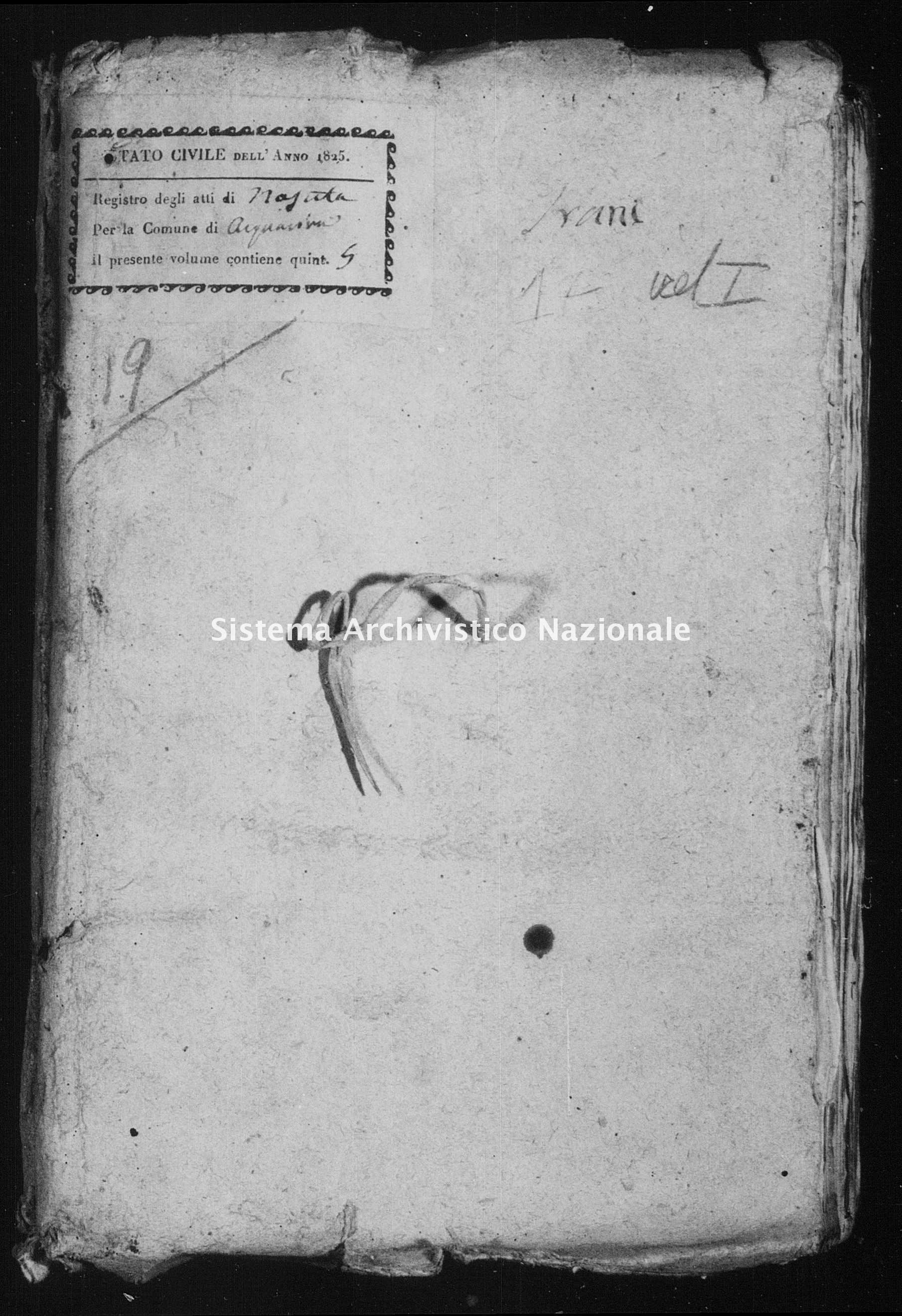 Archivio di stato di Bari - Stato civile della restaurazione - Acquaviva - Nati - 1825 - Parte 1 -