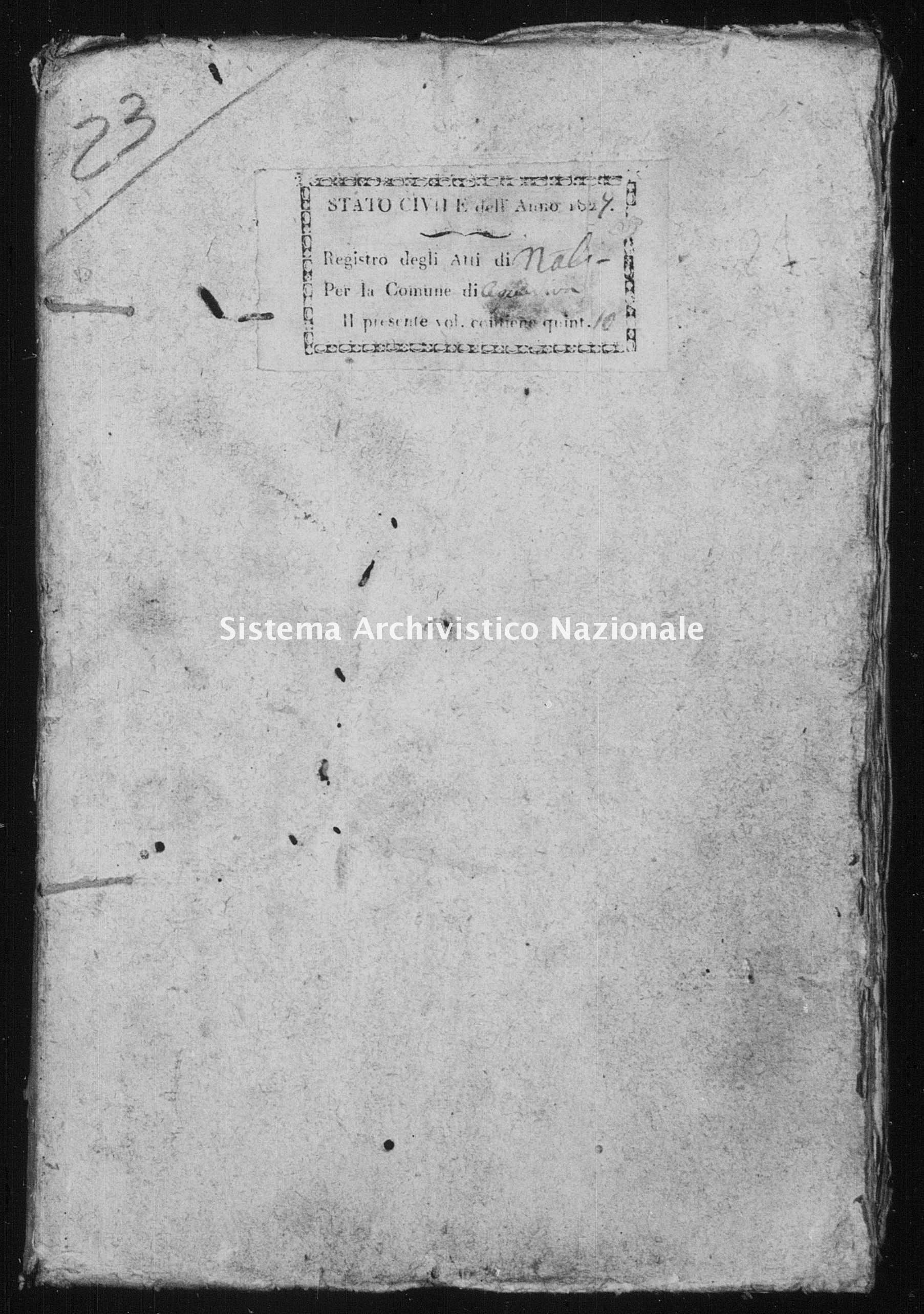 Archivio di stato di Bari - Stato civile della restaurazione - Acquaviva - Nati - 1827 -