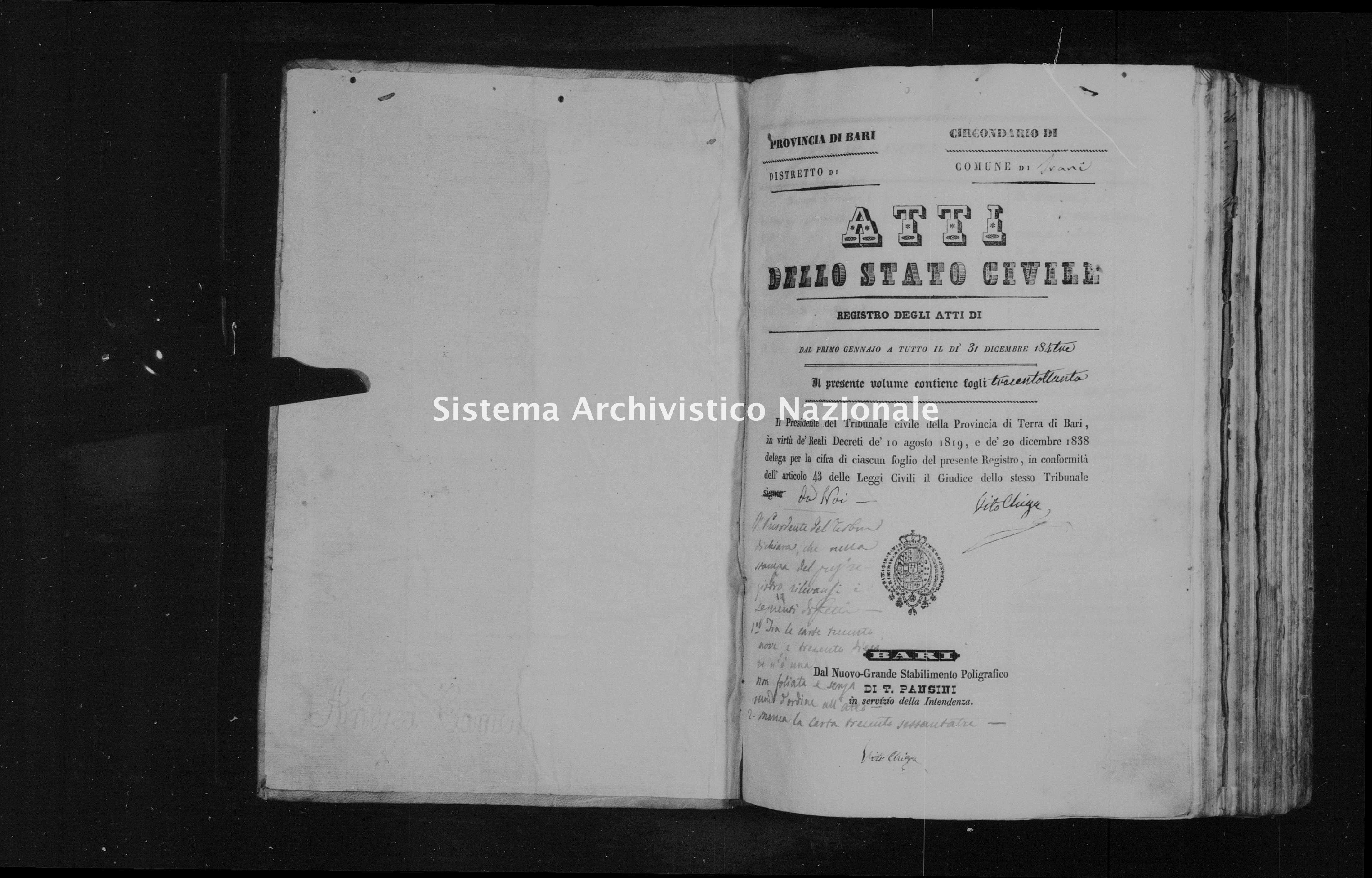 Archivio di stato di Bari - Stato civile della restaurazione - Trani - Nati - 1843 - Parte 1 -