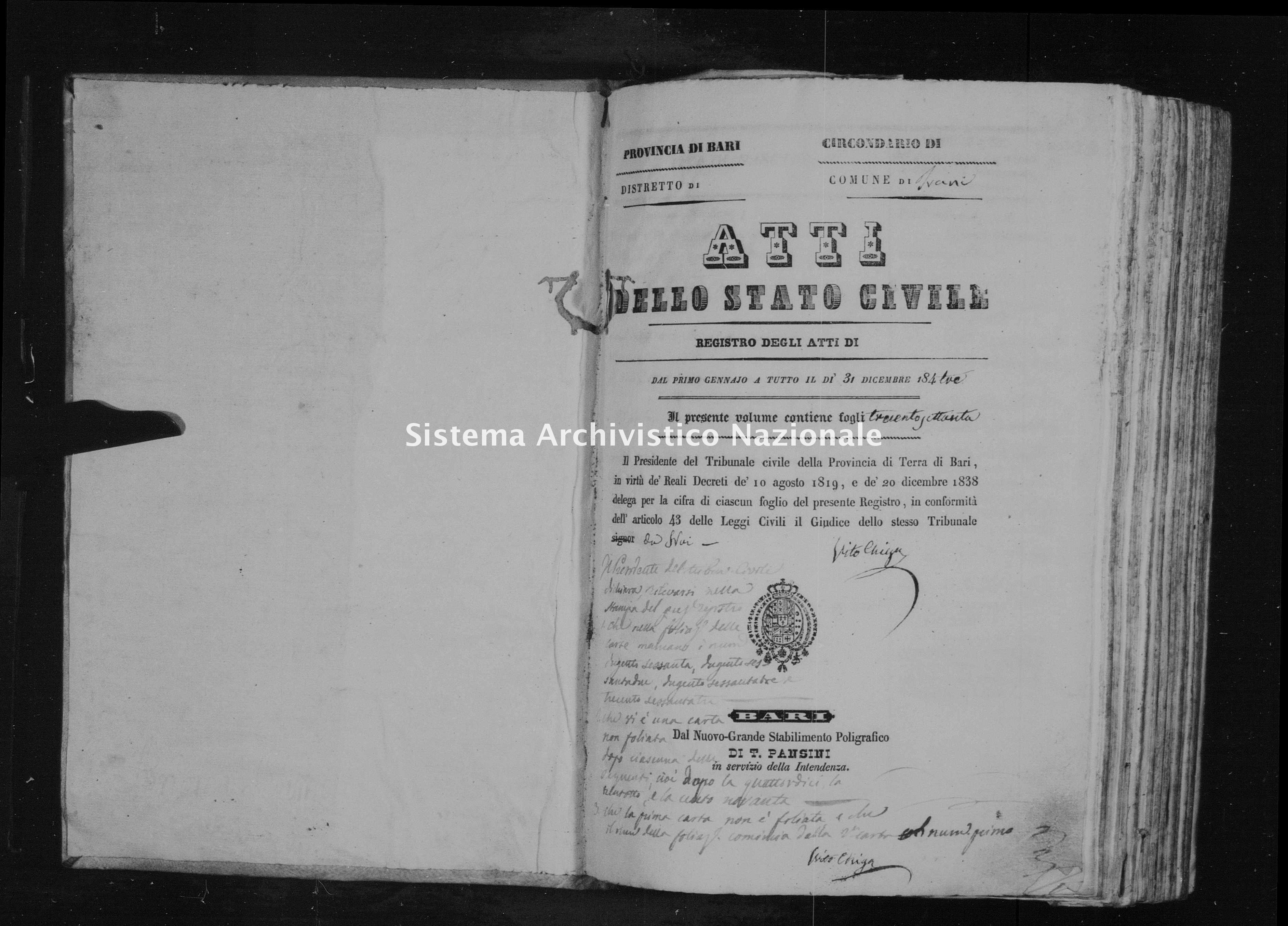 Archivio di stato di Bari - Stato civile della restaurazione - Trani - Nati - 1843 - Parte 2 -