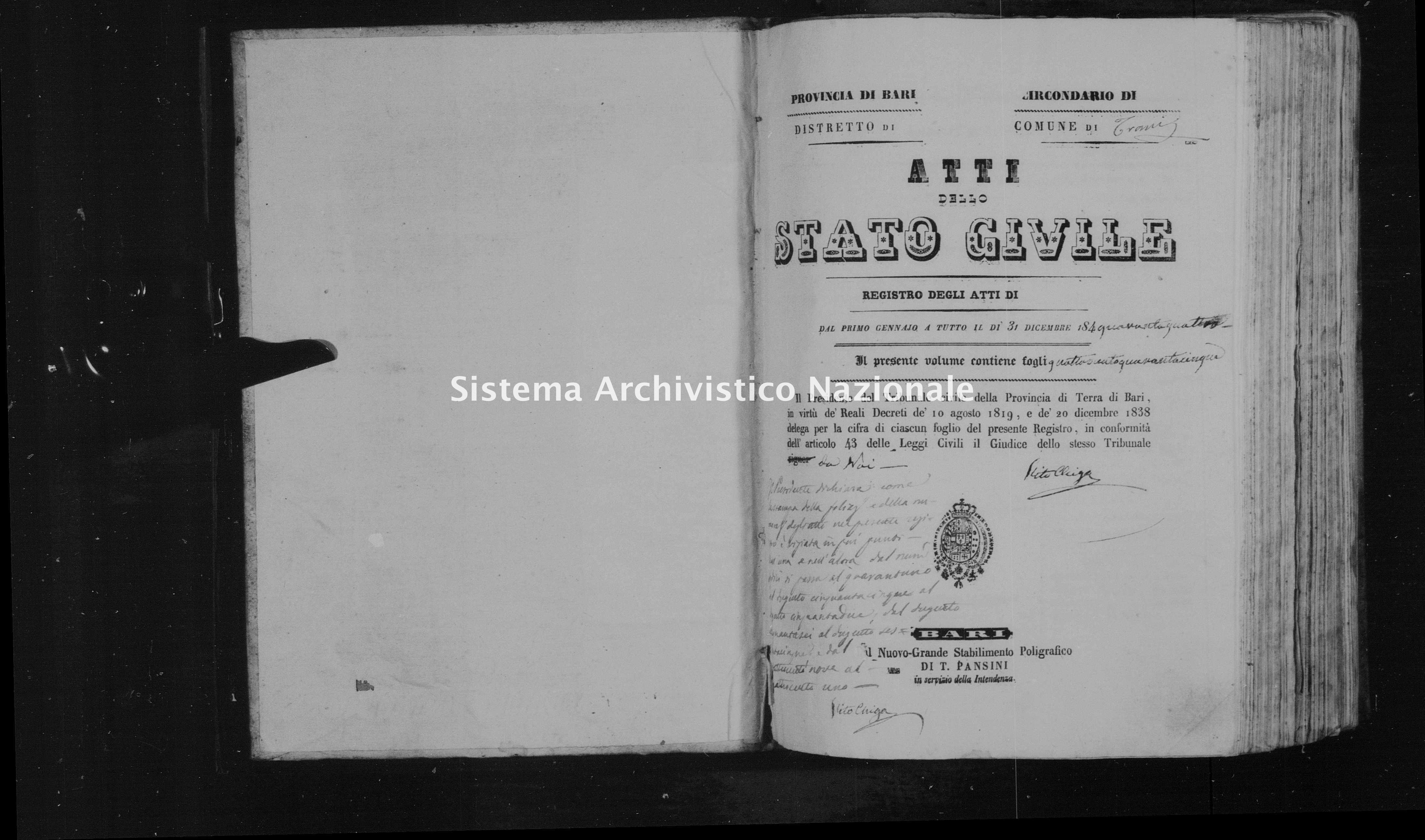 Archivio di stato di Bari - Stato civile della restaurazione - Trani - Nati - 1844 - Parte 2 -