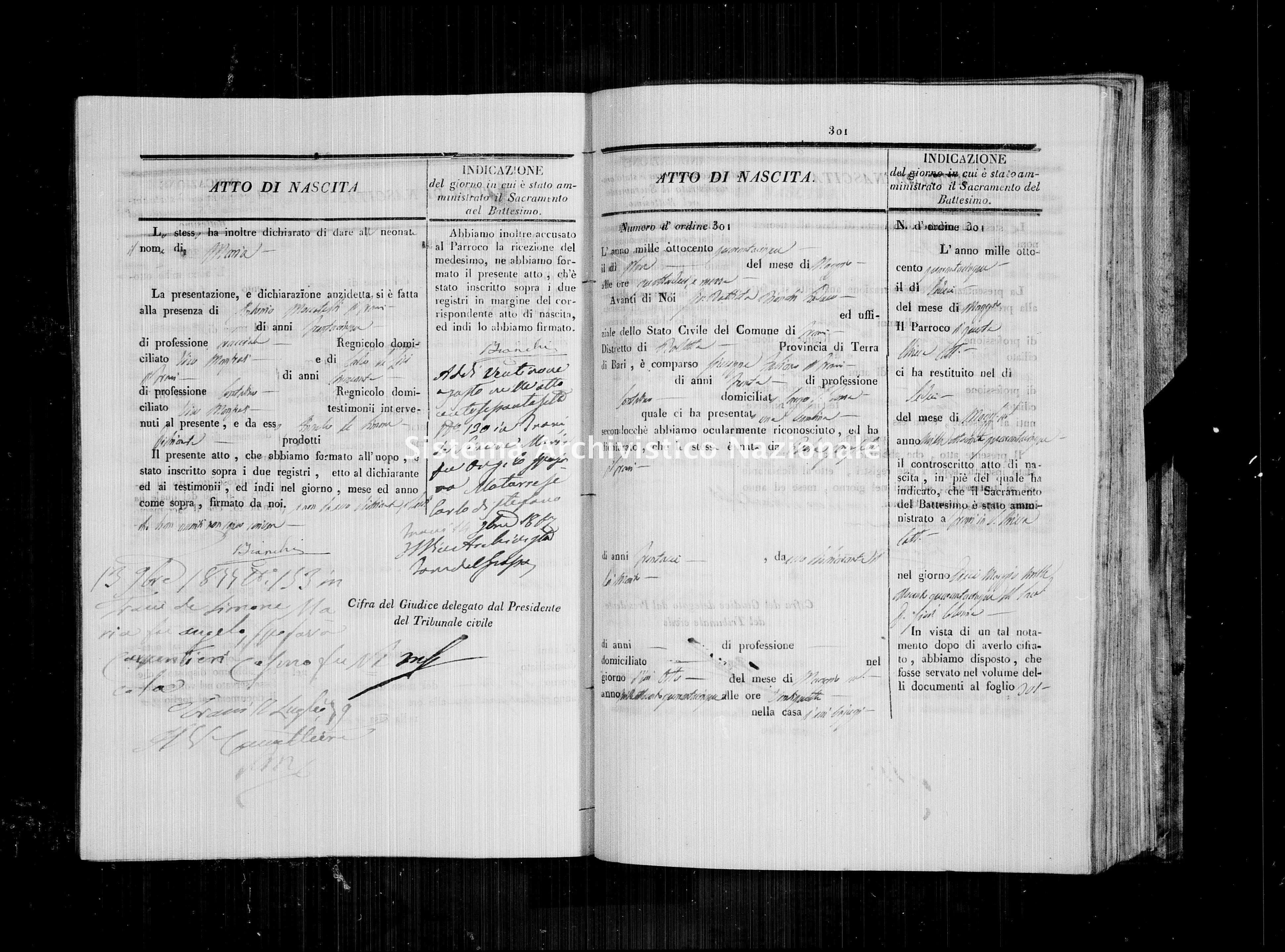 Archivio di stato di Bari - Stato civile della restaurazione - Trani - Nati - 1845 - Parte 1 -