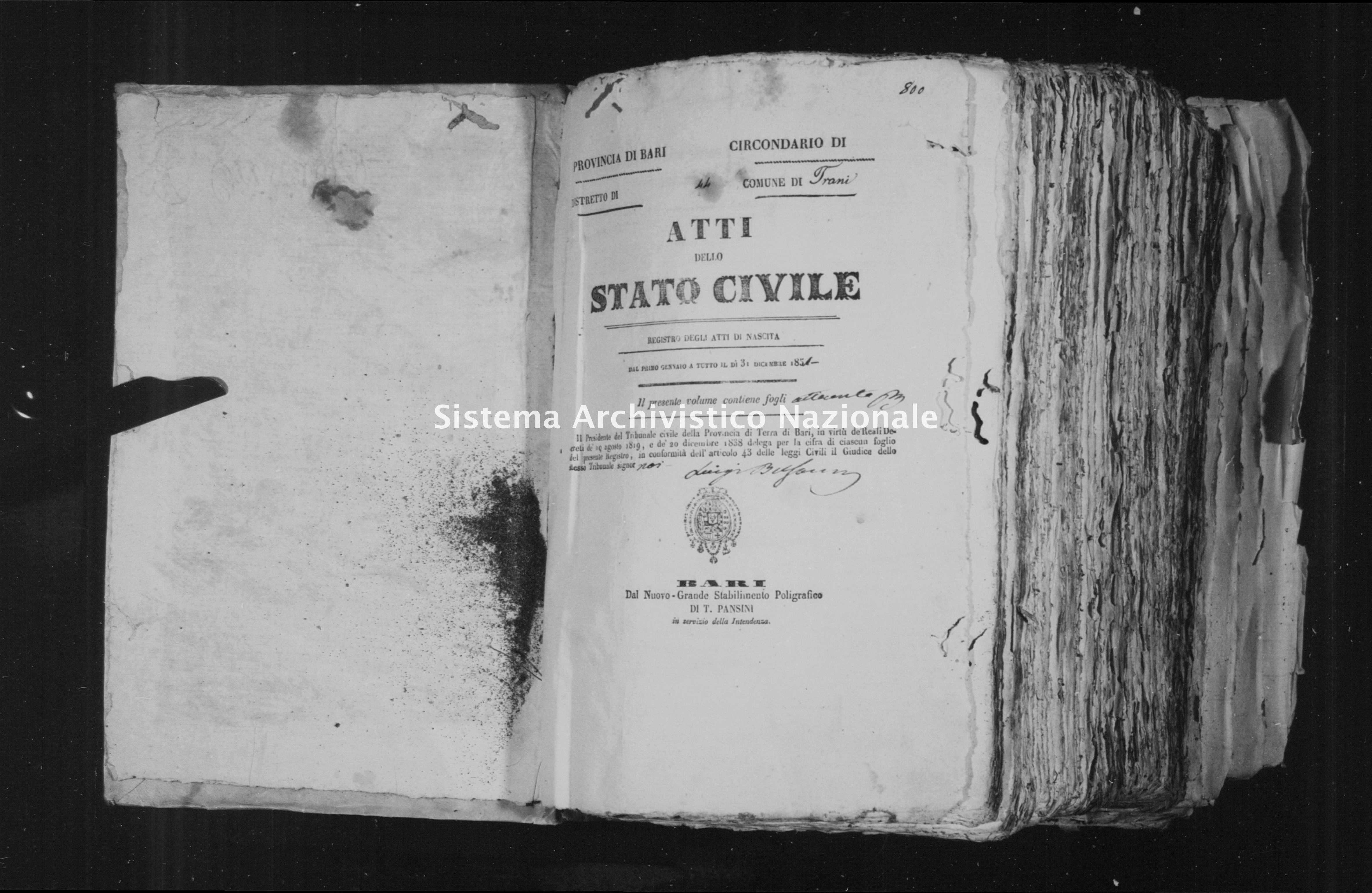 Archivio di stato di Bari - Stato civile della restaurazione - Trani - Nati - 1851 - Parte 1 -