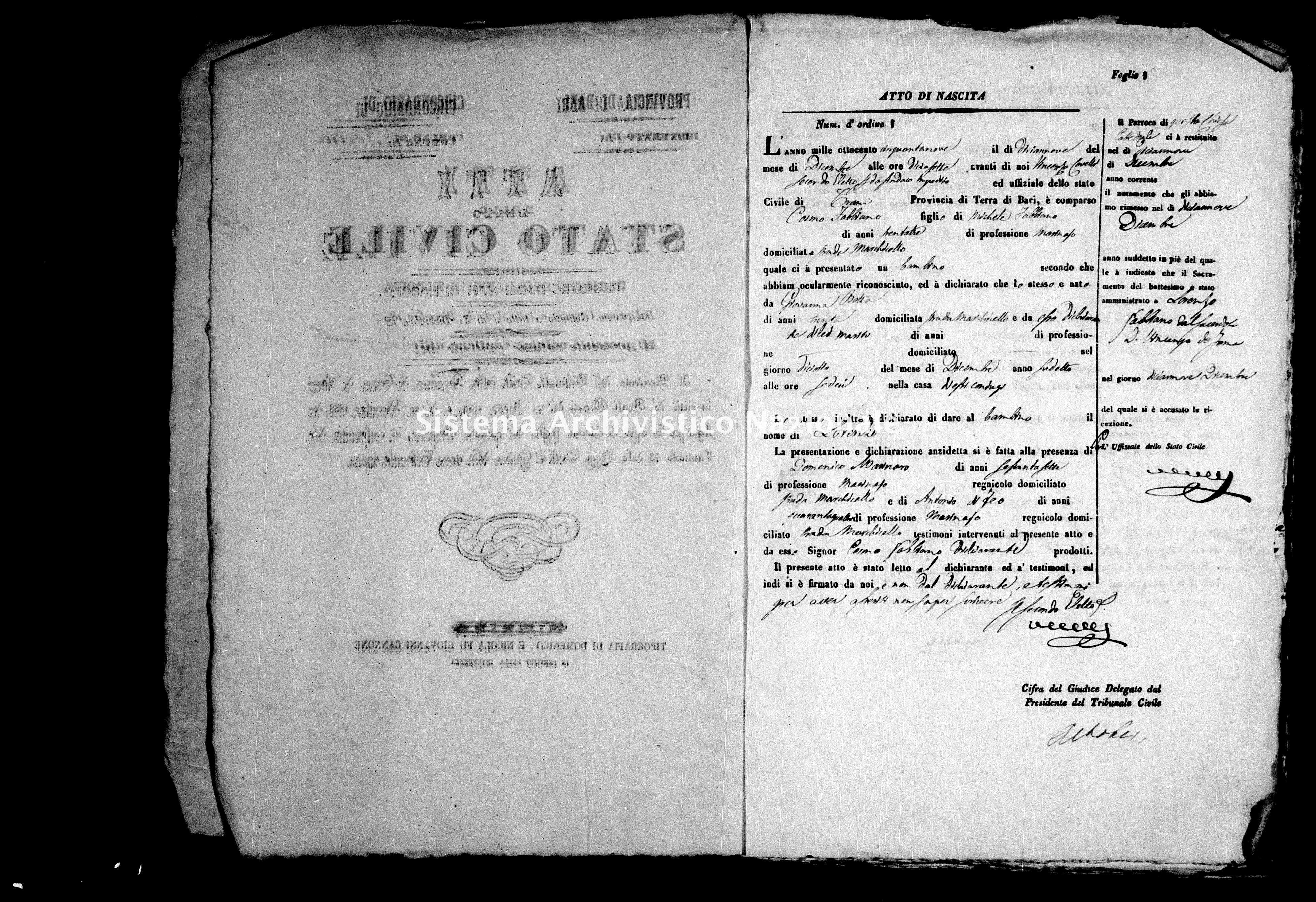 Archivio di stato di Bari - Stato civile della restaurazione - Trani - Nati - 1859 - Parte 2 -