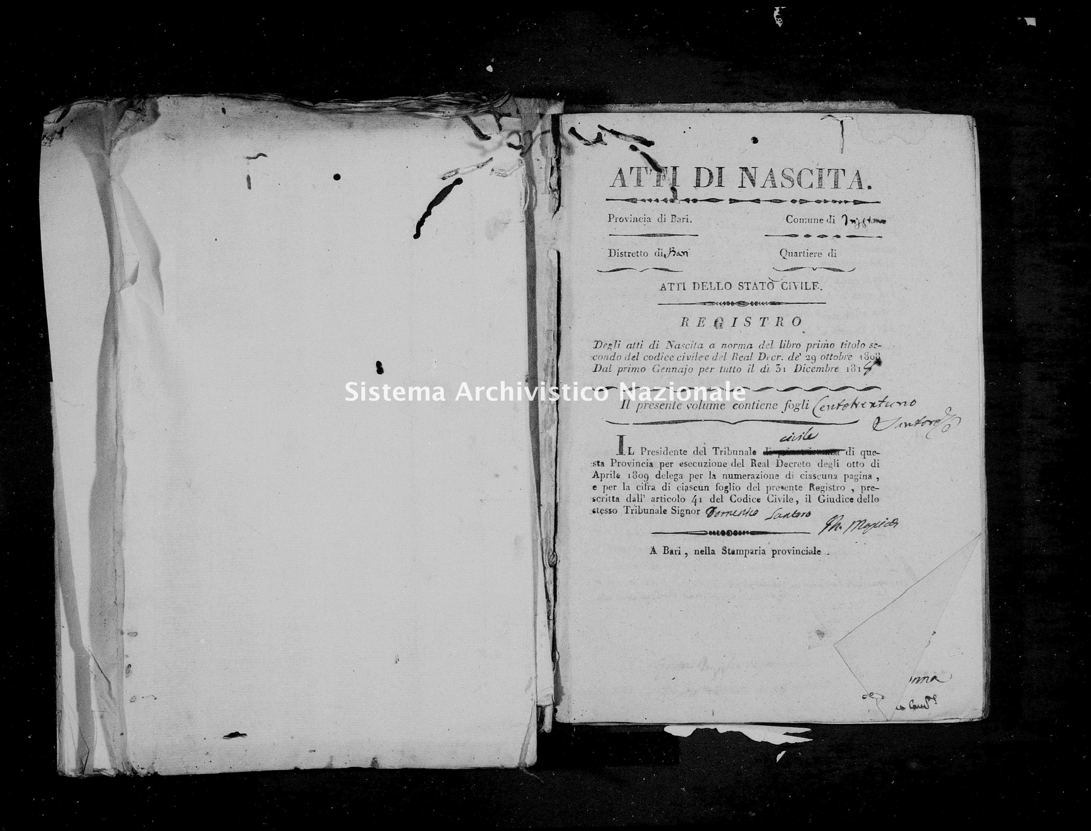 Archivio di stato di Bari - Stato civile della restaurazione - Triggiano - Nati - 1818 - Parte 1 -