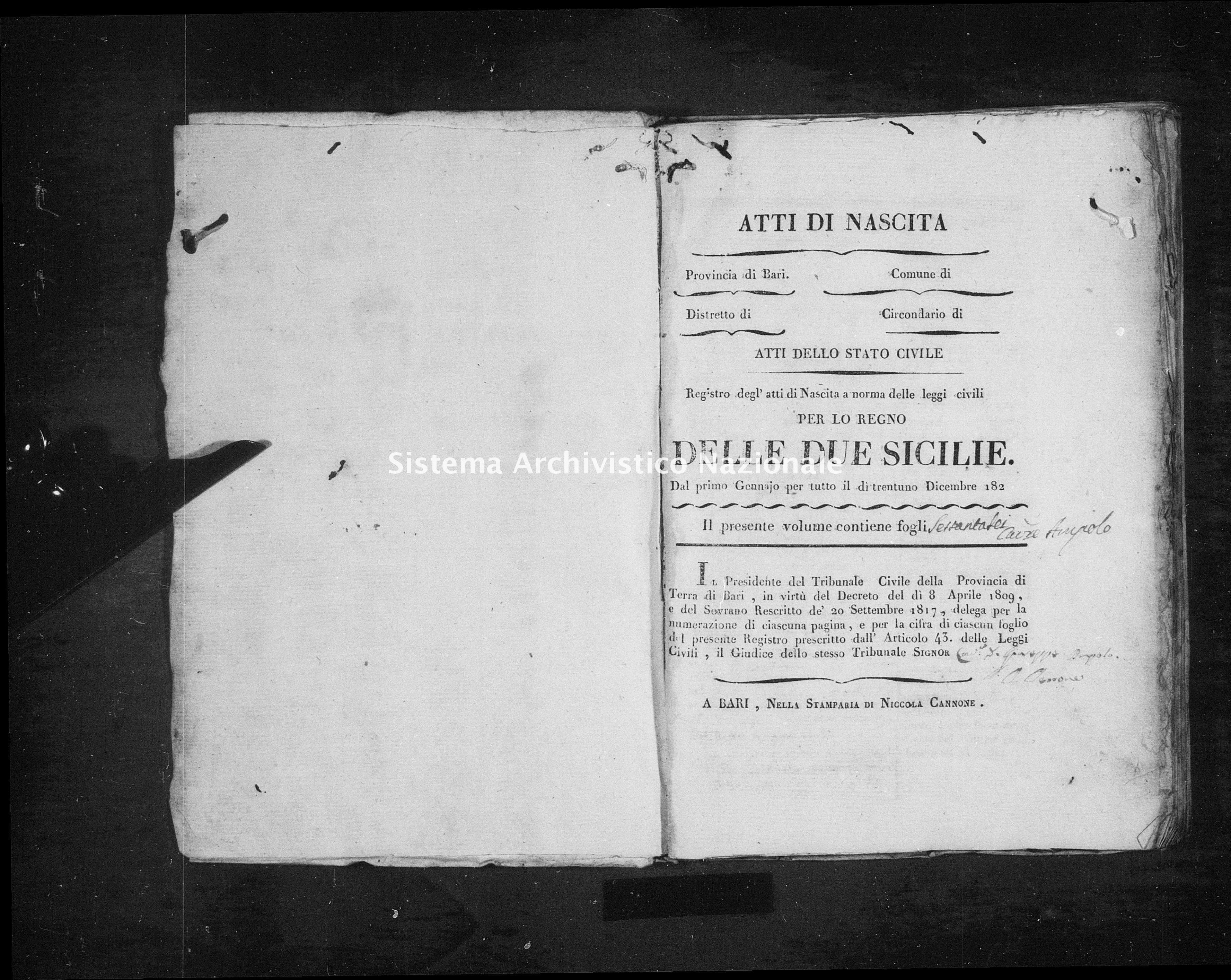 Archivio di stato di Bari - Stato civile della restaurazione - Triggiano - Nati - 1820 - Parte 3 -