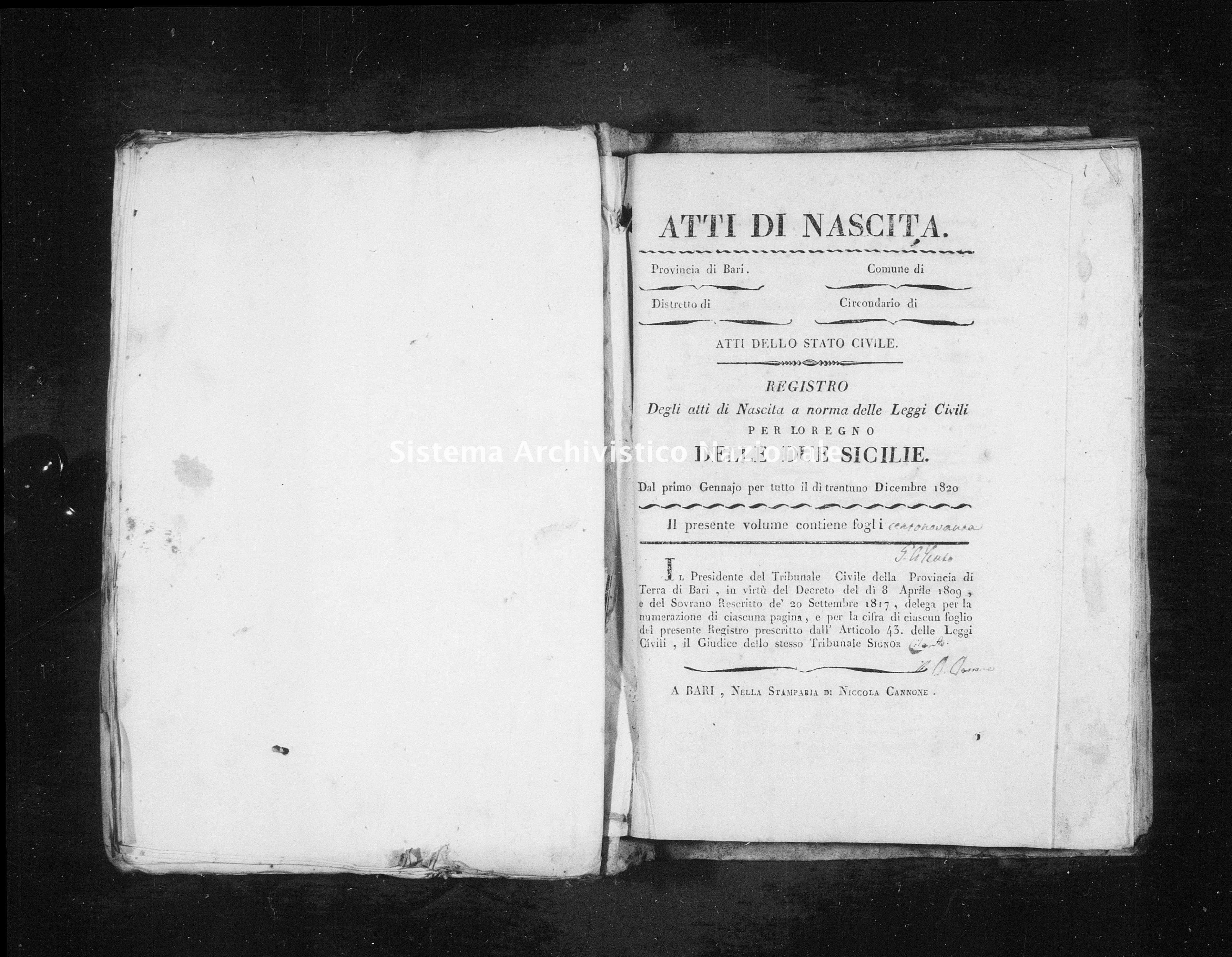 Archivio di stato di Bari - Stato civile della restaurazione - Triggiano - Nati - 1821 - Parte 1 -