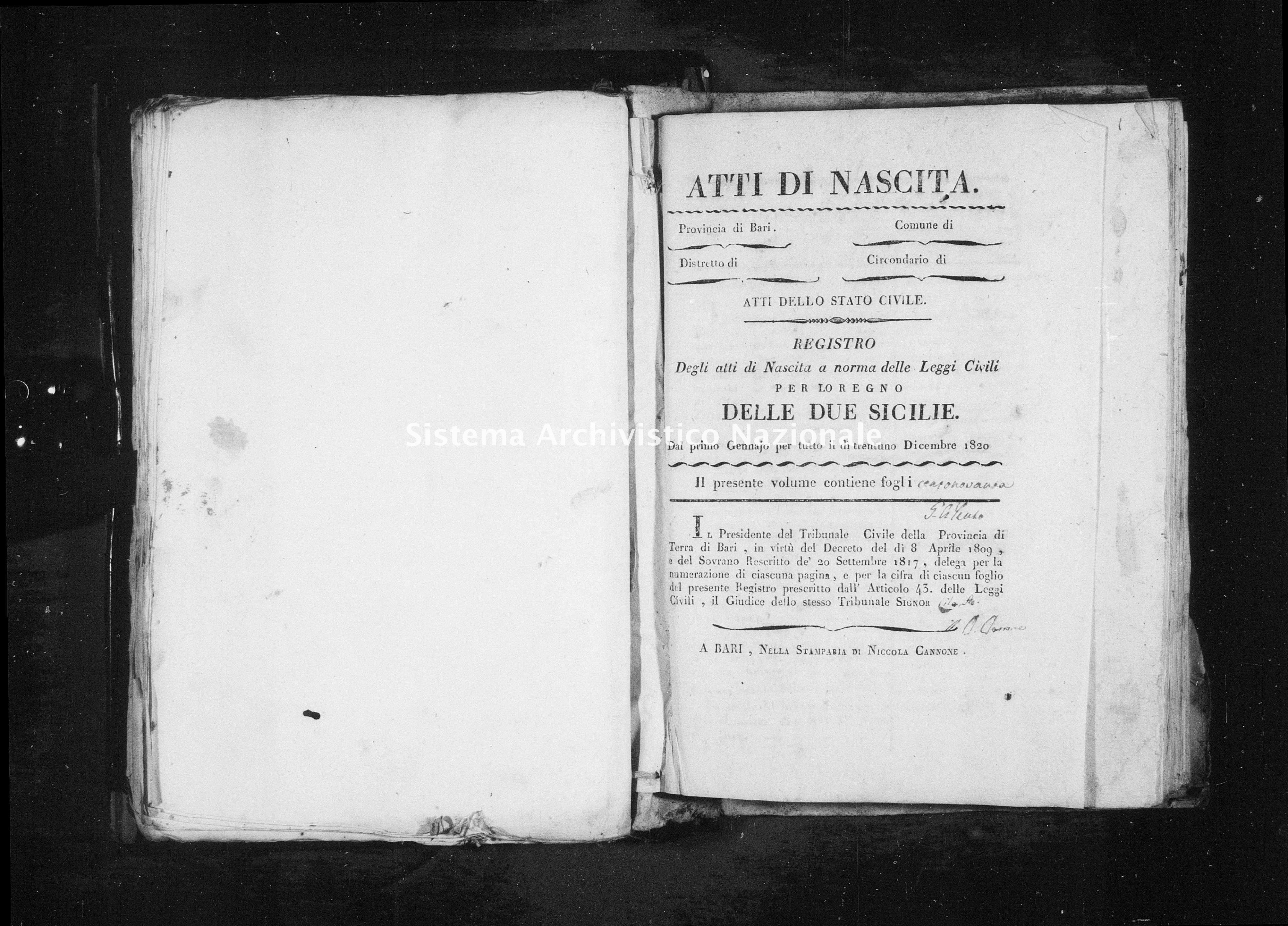 Archivio di stato di Bari - Stato civile della restaurazione - Triggiano - Nati - 1821 - Parte 2 -