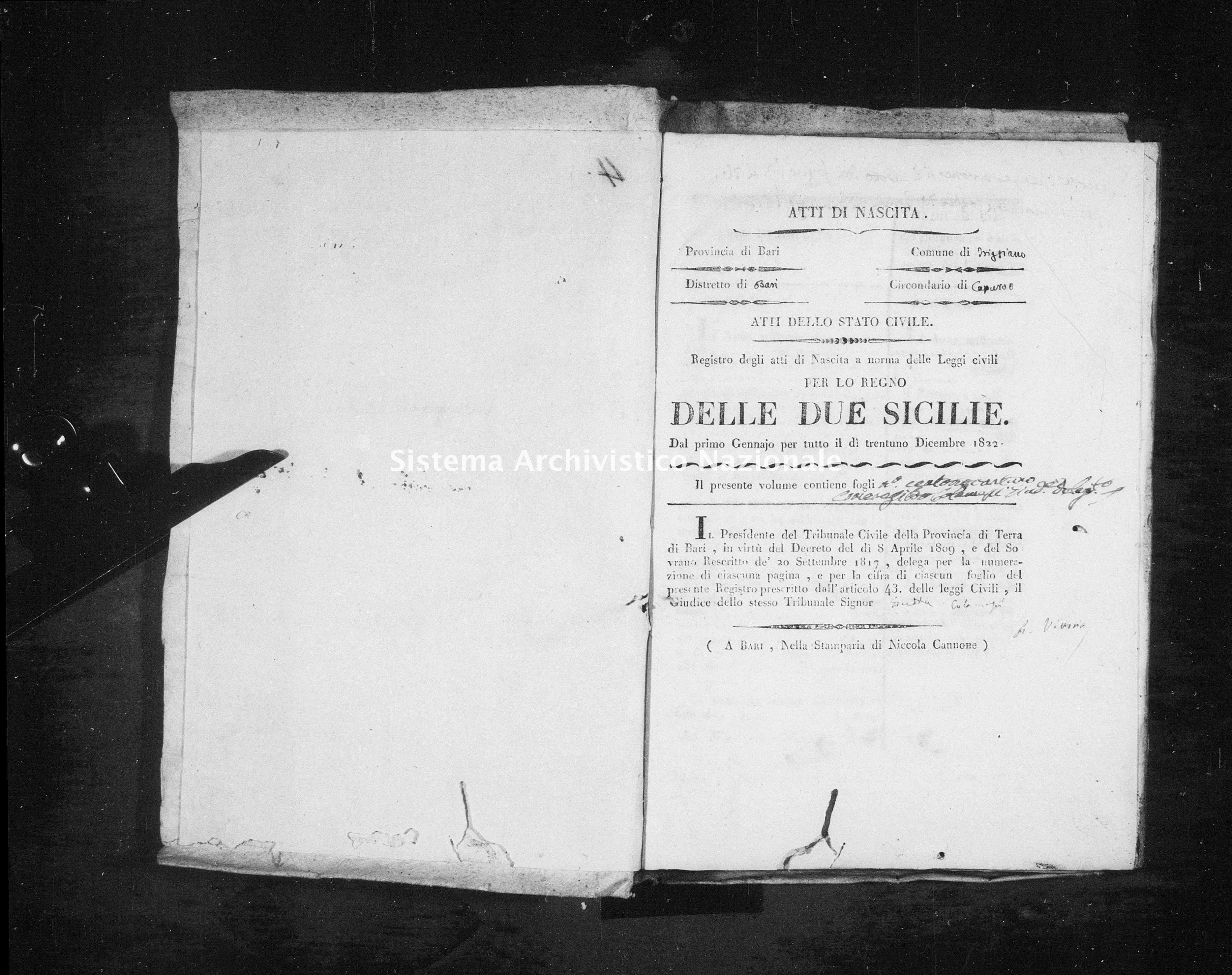 Archivio di stato di Bari - Stato civile della restaurazione - Triggiano - Nati - 1822 - Parte 1 -
