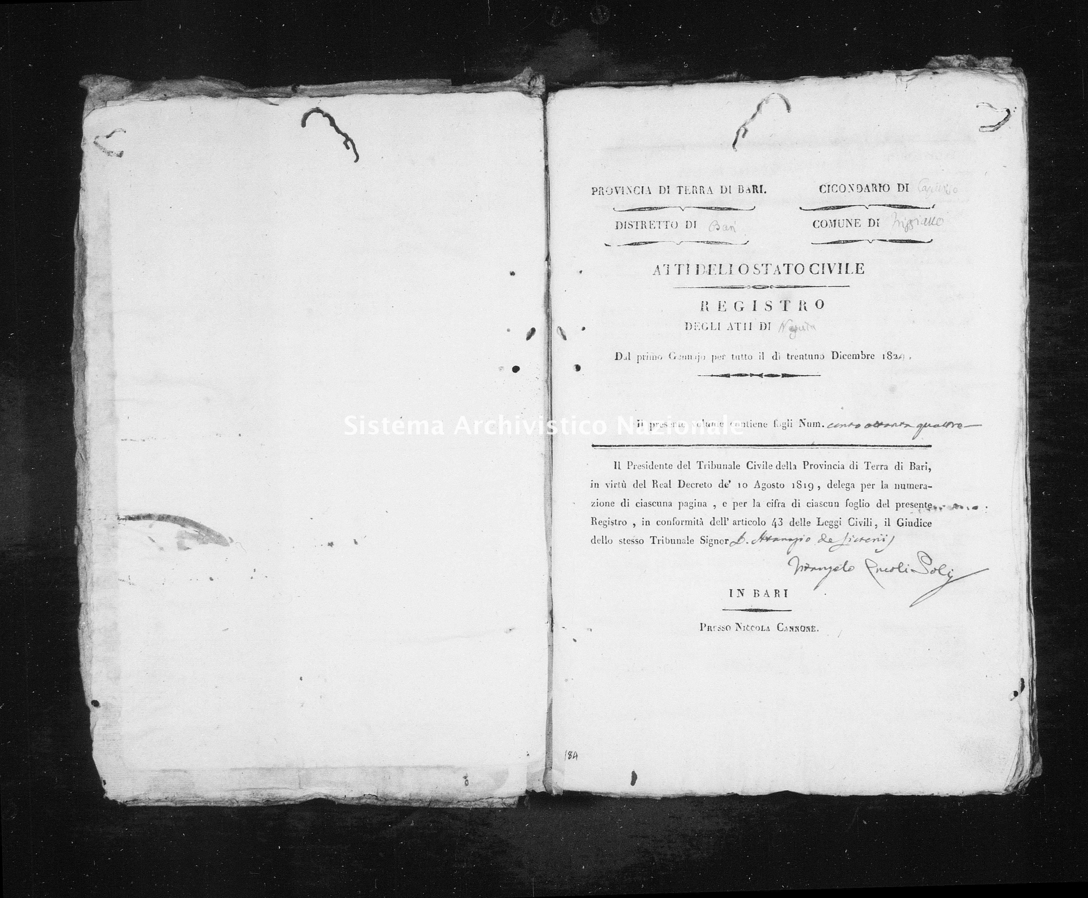 Archivio di stato di Bari - Stato civile della restaurazione - Triggiano - Nati - 1824 - Parte 2 -