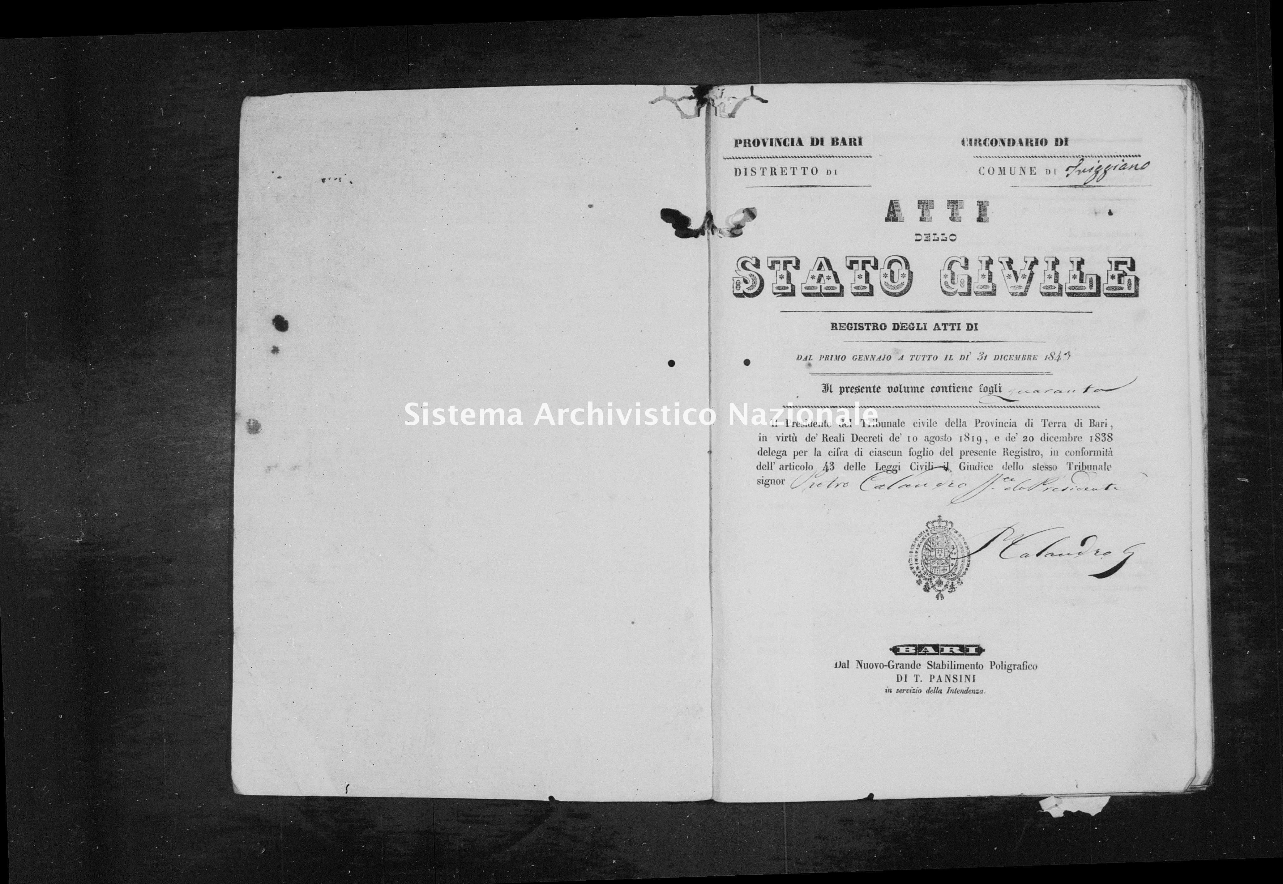 Archivio di stato di Bari - Stato civile della restaurazione - Triggiano - Nati - 1843 - Parte 2 -