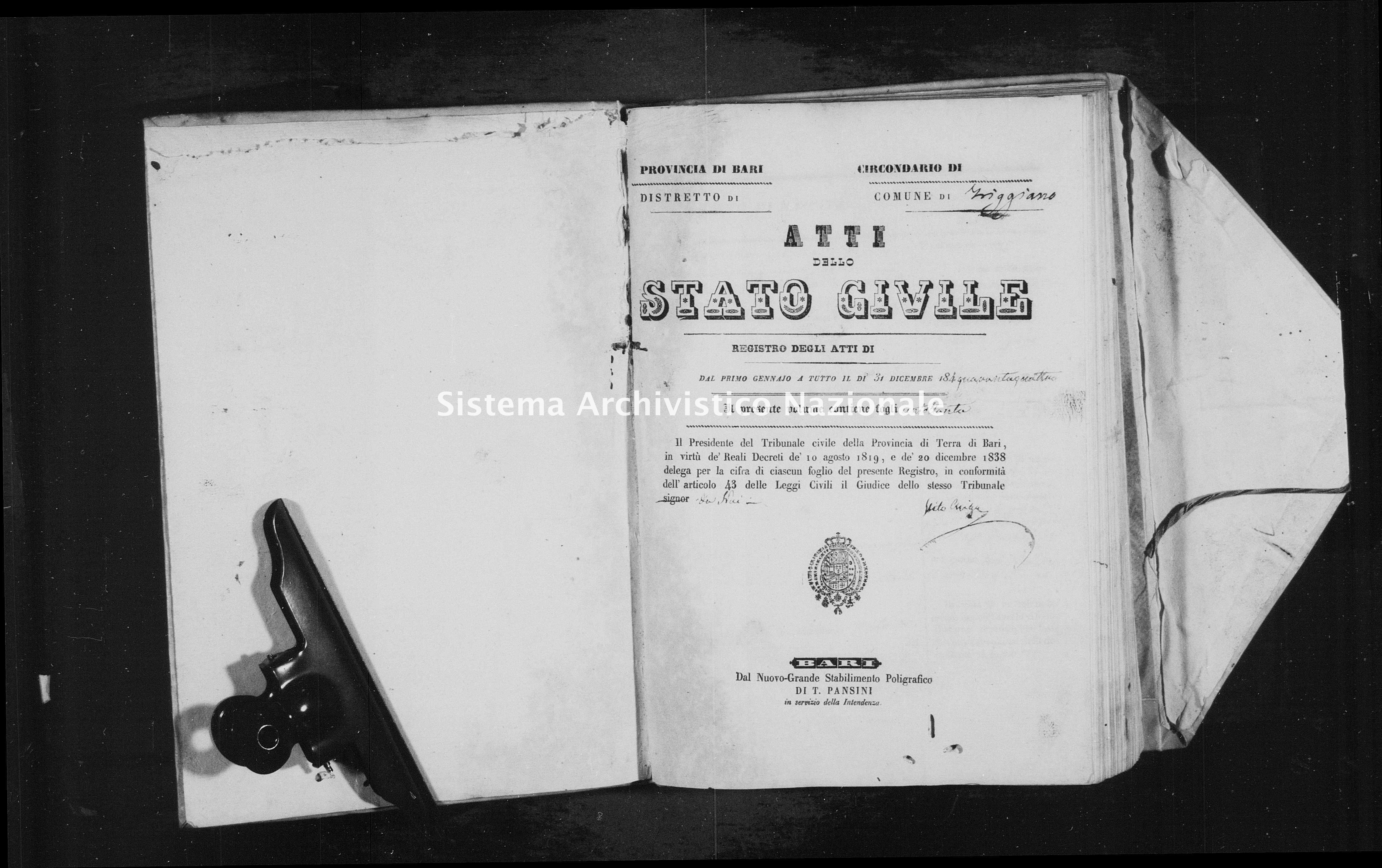 Archivio di stato di Bari - Stato civile della restaurazione - Triggiano - Nati - 1844 - Parte 2 -