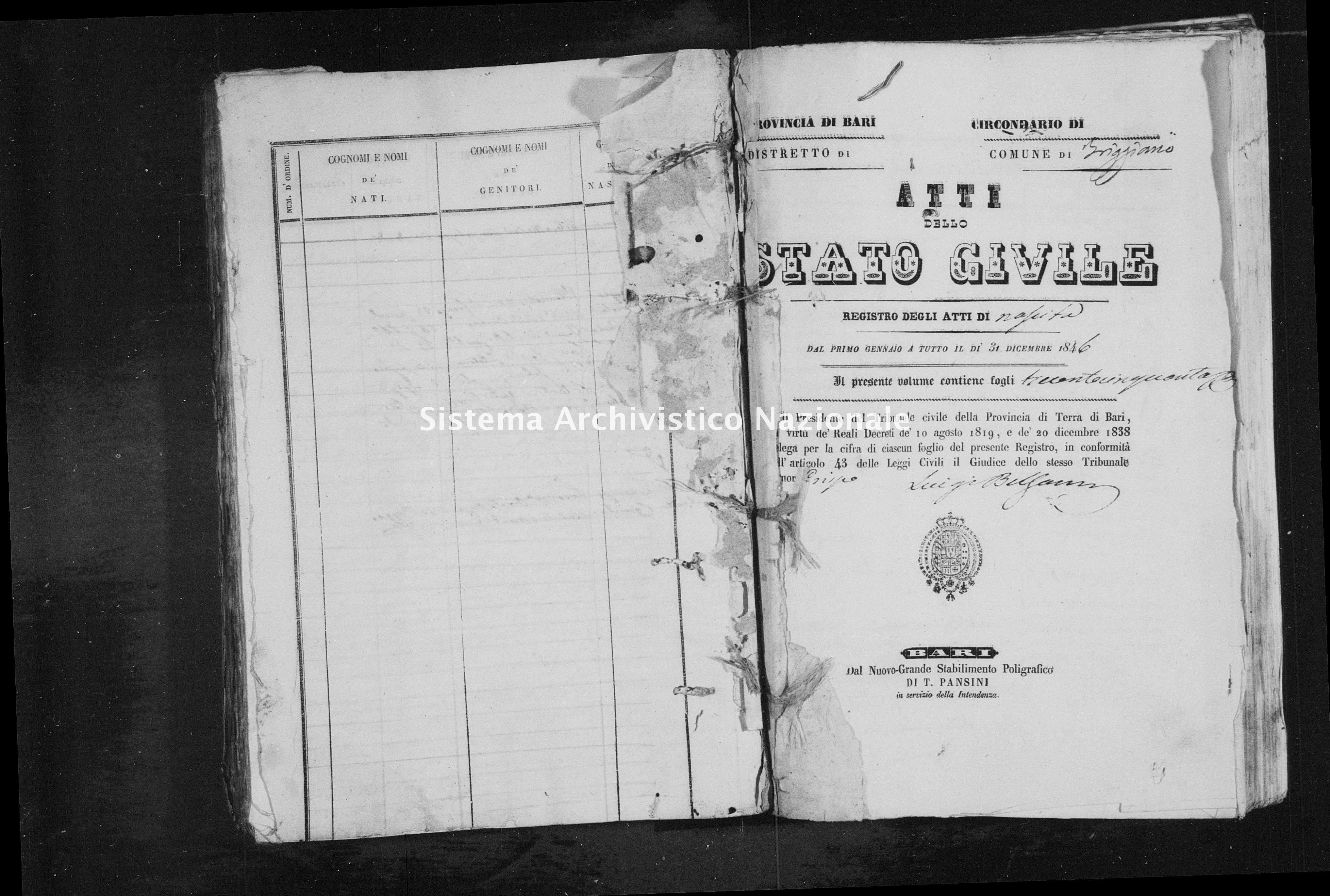 Archivio di stato di Bari - Stato civile della restaurazione - Triggiano - Nati - 1846 -