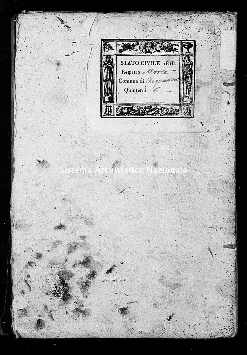 Archivio di stato di Bari - Stato civile della restaurazione - Acquaviva - Morti - 1818 -