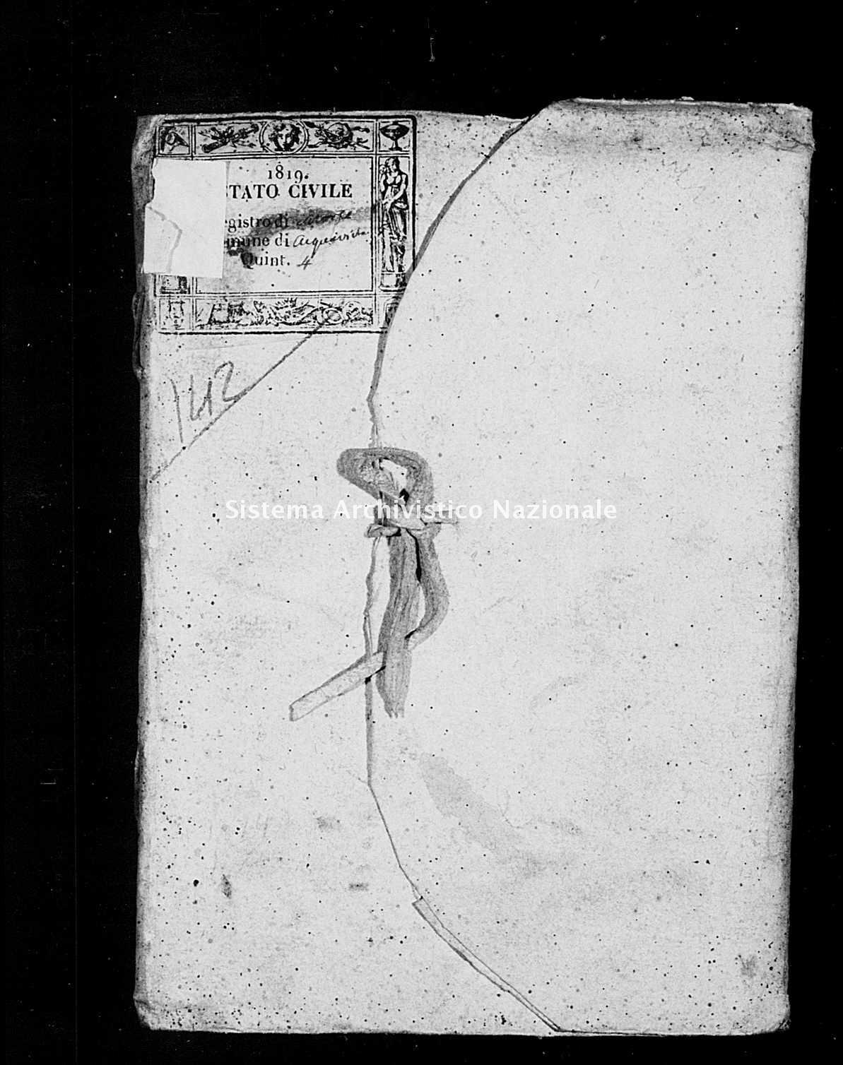 Archivio di stato di Bari - Stato civile della restaurazione - Acquaviva - Morti - 1819 -