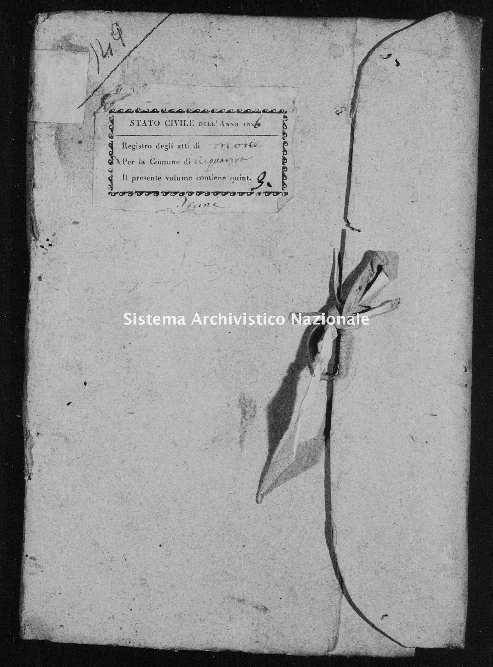 Archivio di stato di Bari - Stato civile della restaurazione - Acquaviva - Morti - 1826 -