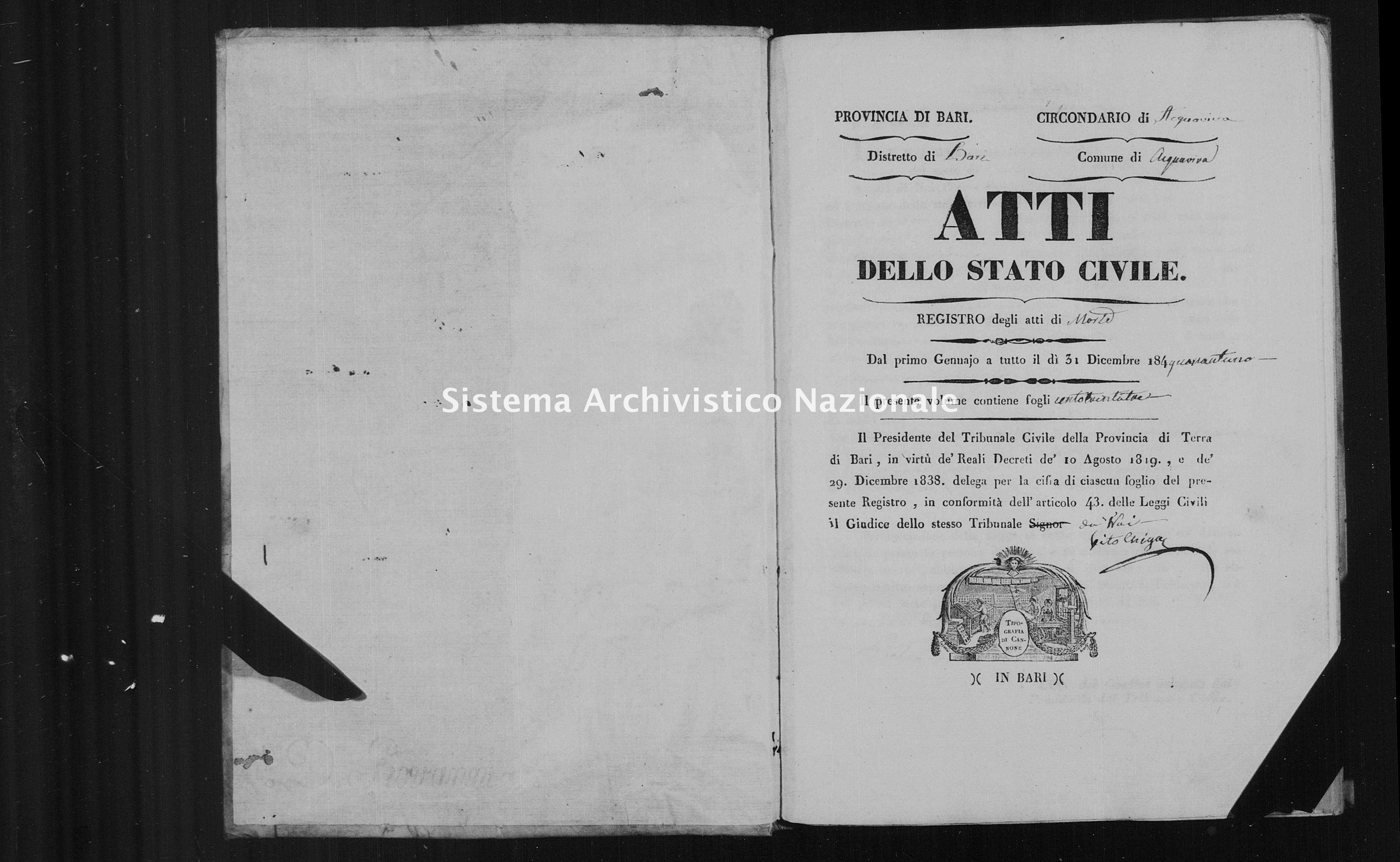 Archivio di stato di Bari - Stato civile della restaurazione - Acquaviva - Morti - 1841 -