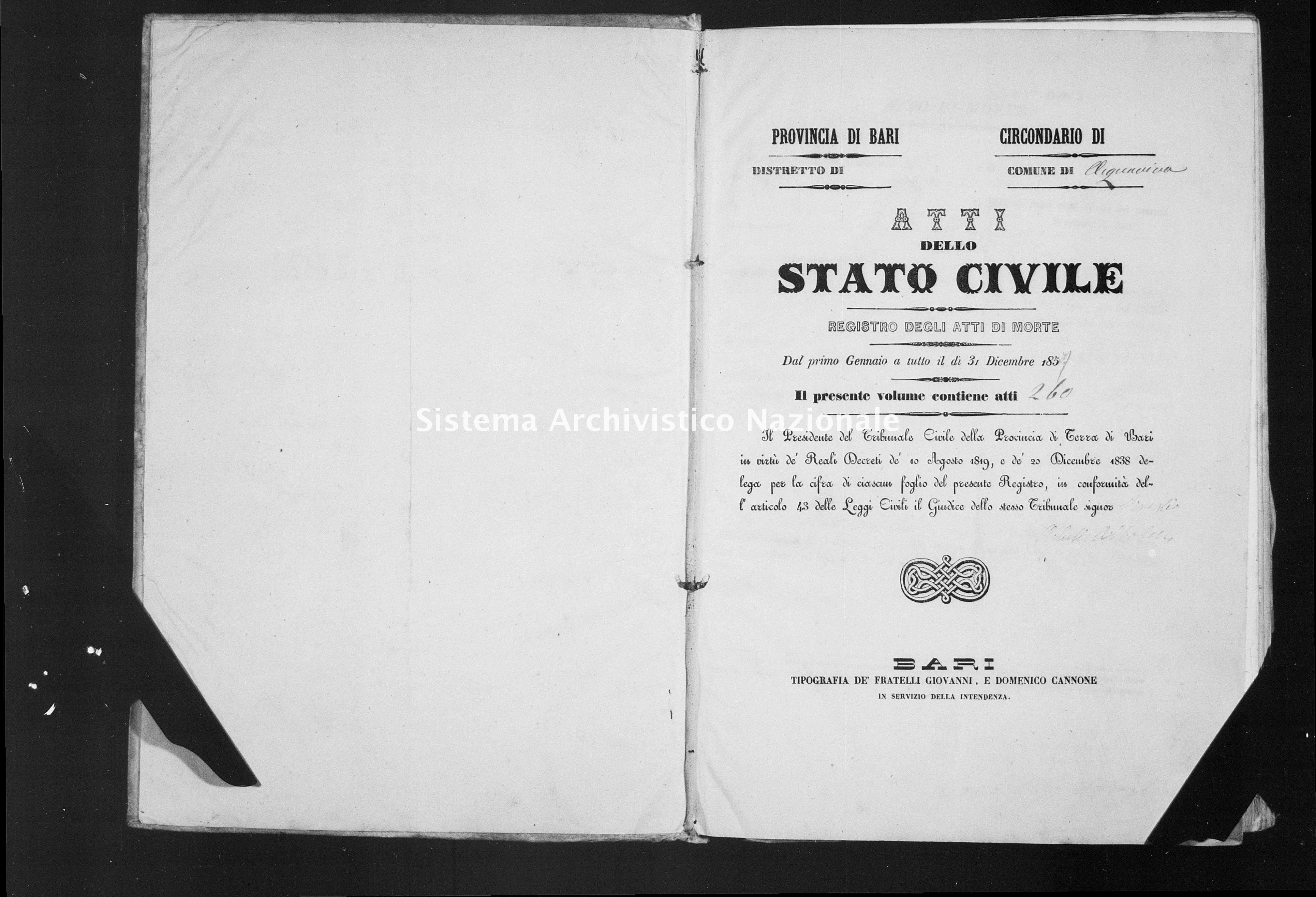 Archivio di stato di Bari - Stato civile della restaurazione - Acquaviva - Morti - 1859 -