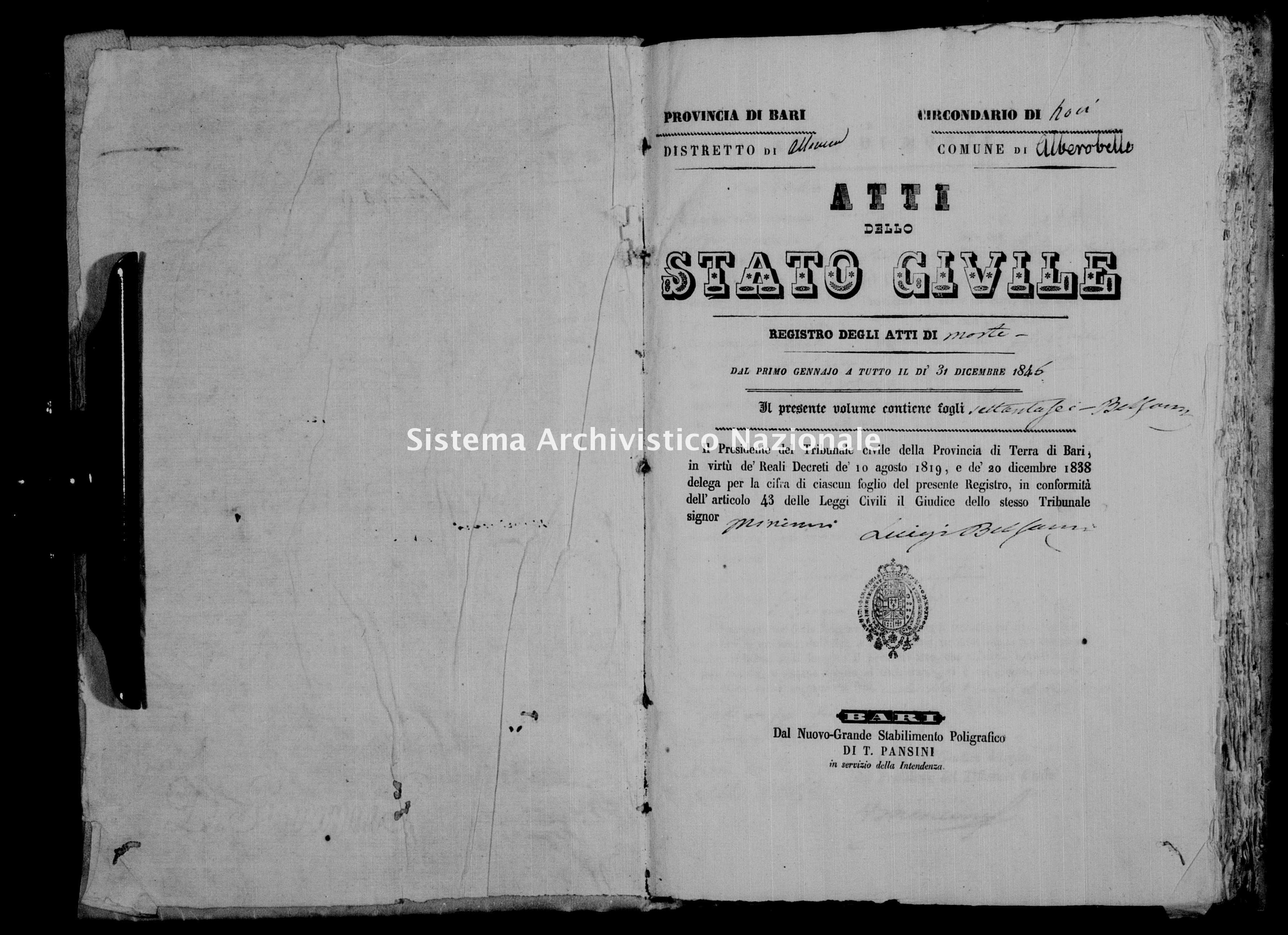 Archivio di stato di Bari - Stato civile della restaurazione - Alberobello - Morti - 1846 -