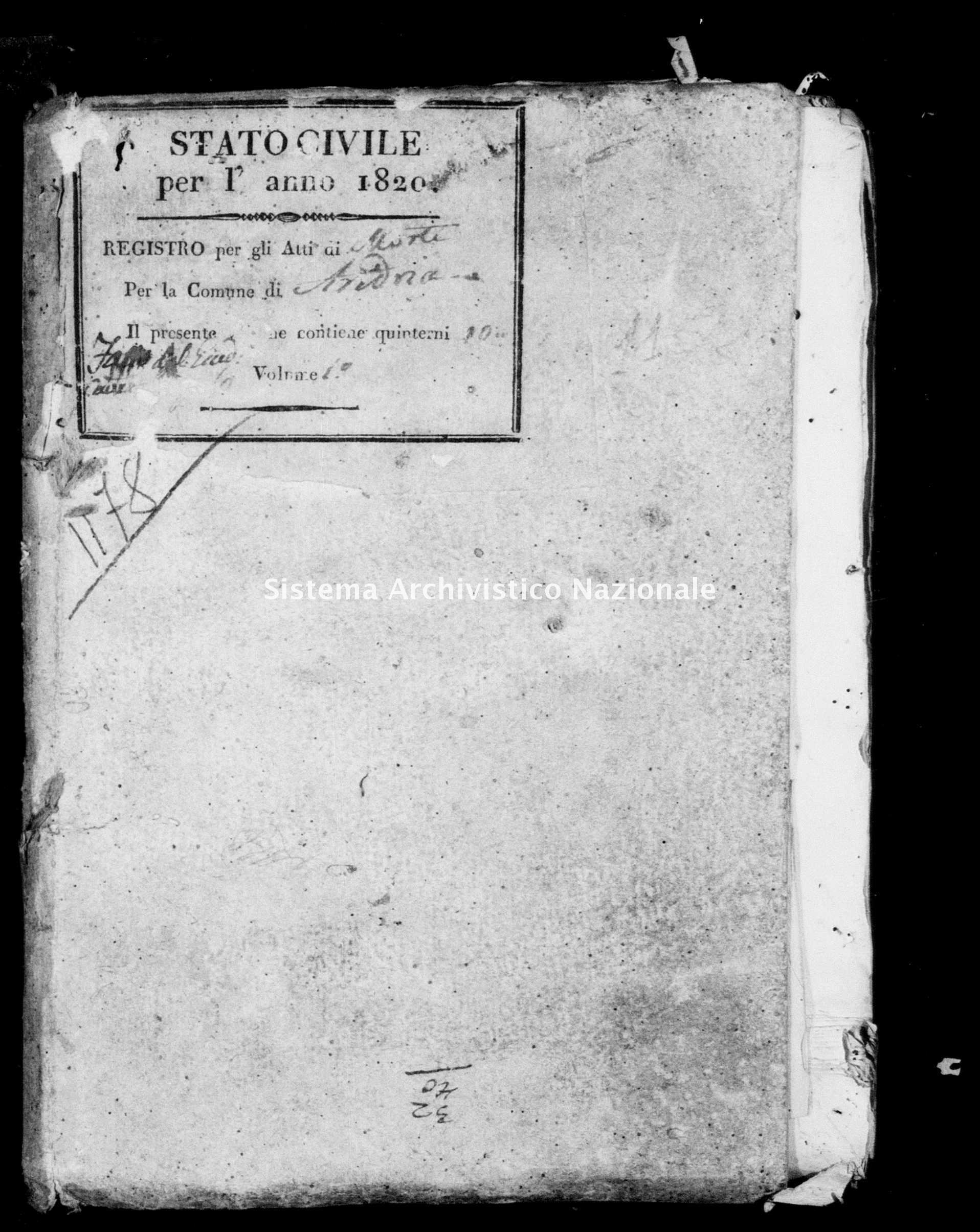 Archivio di stato di Bari - Stato civile della restaurazione - Andria - Morti - 1820 -
