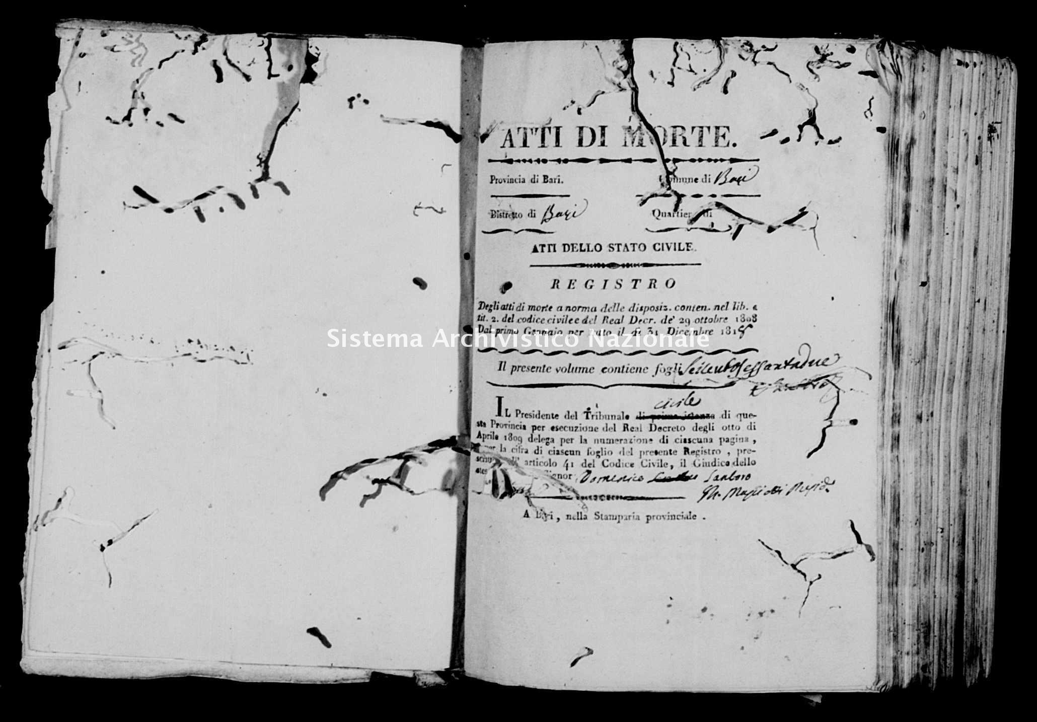 Archivio di stato di Bari - Stato civile della restaurazione - Bari - Morti - 1818 -