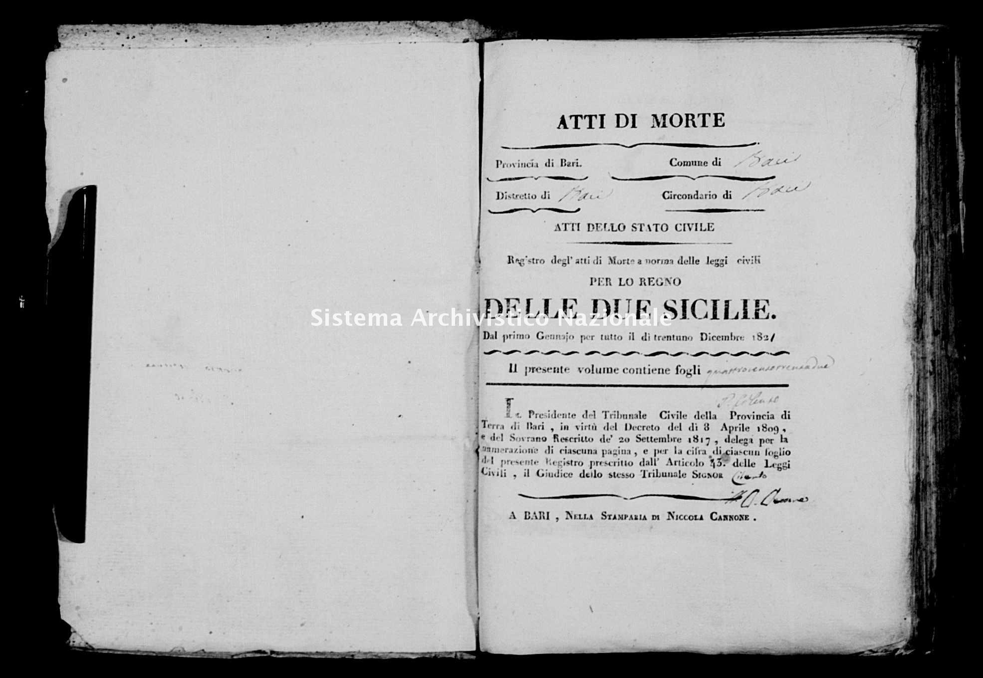 Archivio di stato di Bari - Stato civile della restaurazione - Bari - Morti - 1821 -