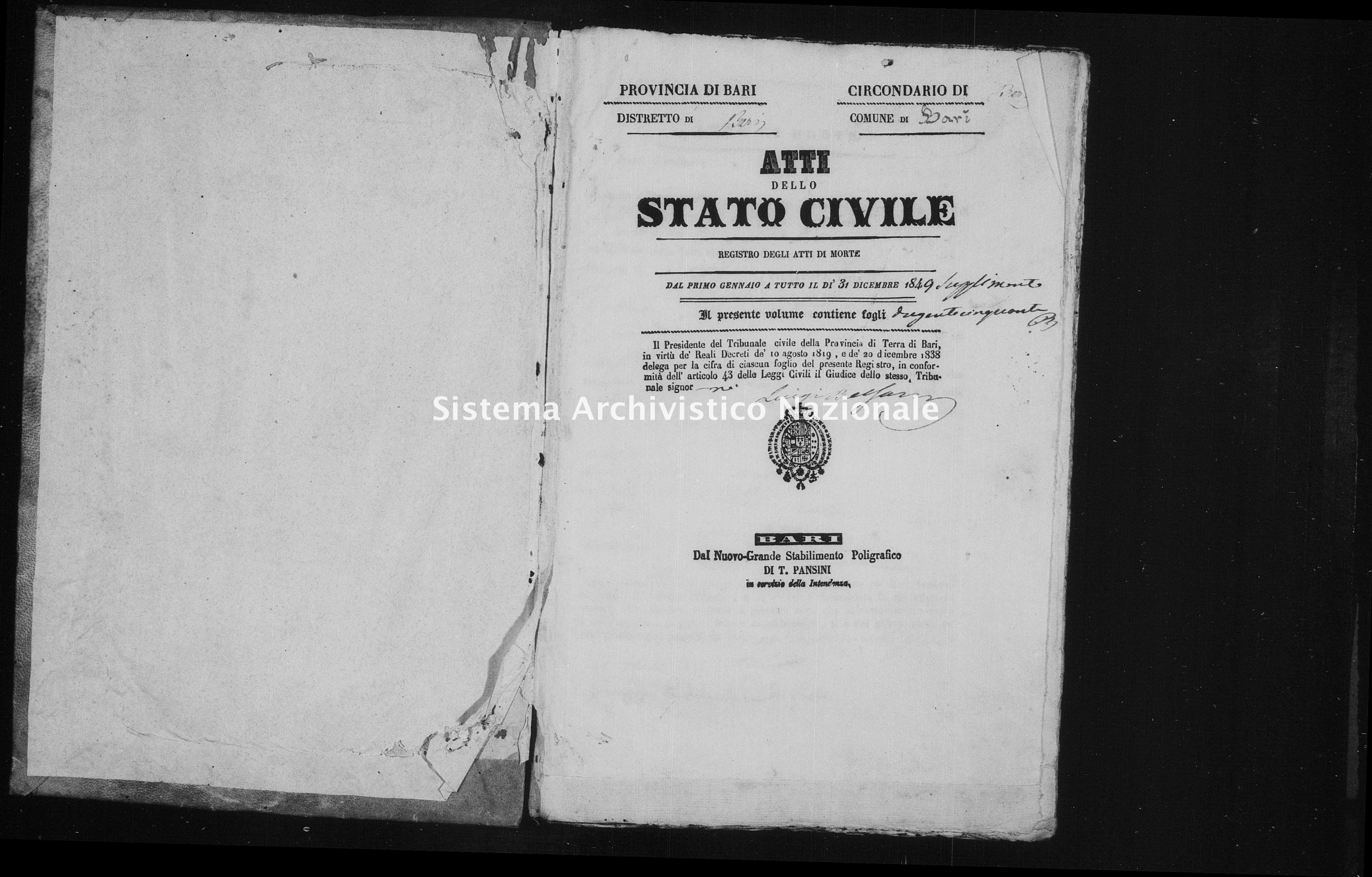 Archivio di stato di Bari - Stato civile della restaurazione - Bari - Morti - 1849 - Parte 2 -