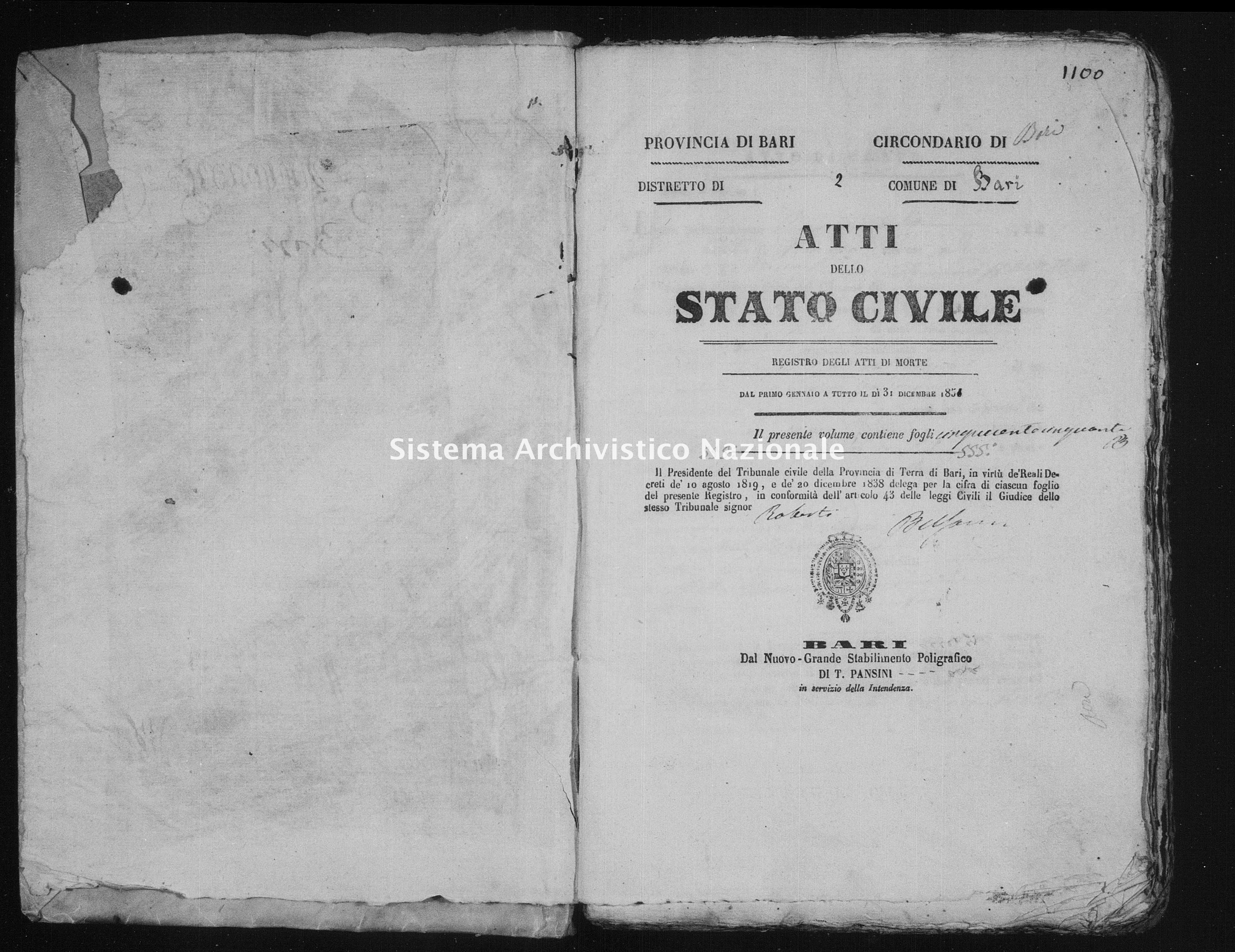 Archivio di stato di Bari - Stato civile della restaurazione - Bari - Morti - 1851 -