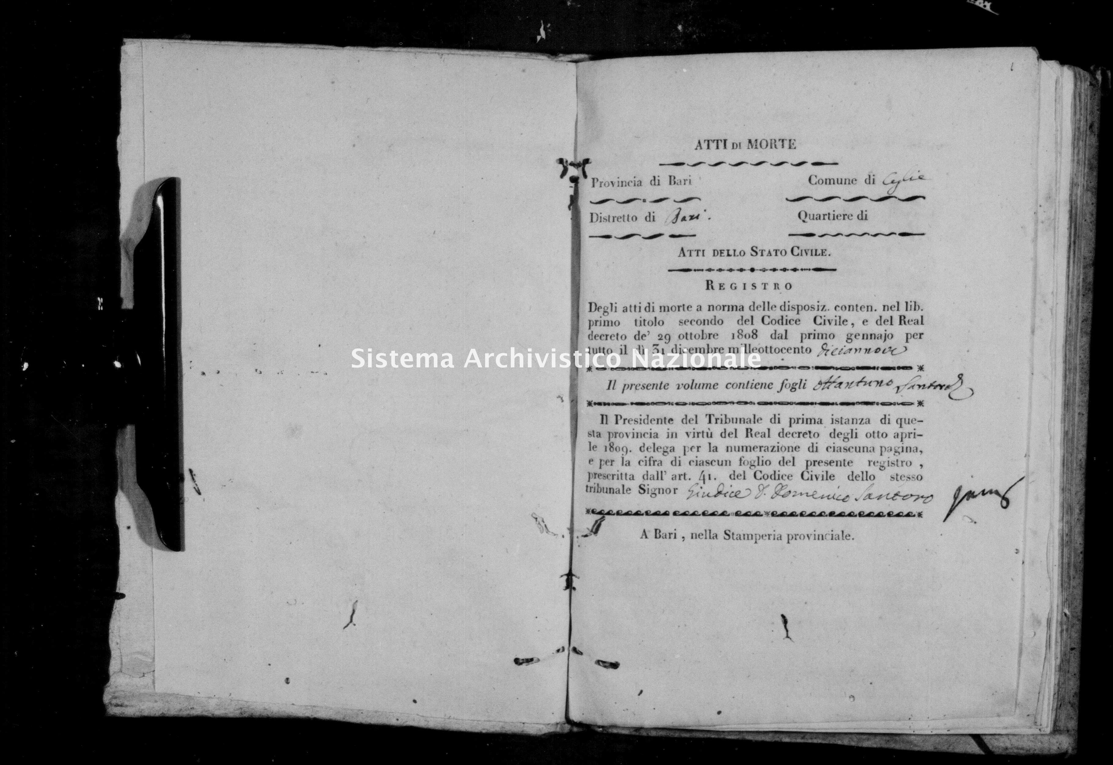 Archivio di stato di Bari - Stato civile della restaurazione - Ceglie - Morti - 1819 -