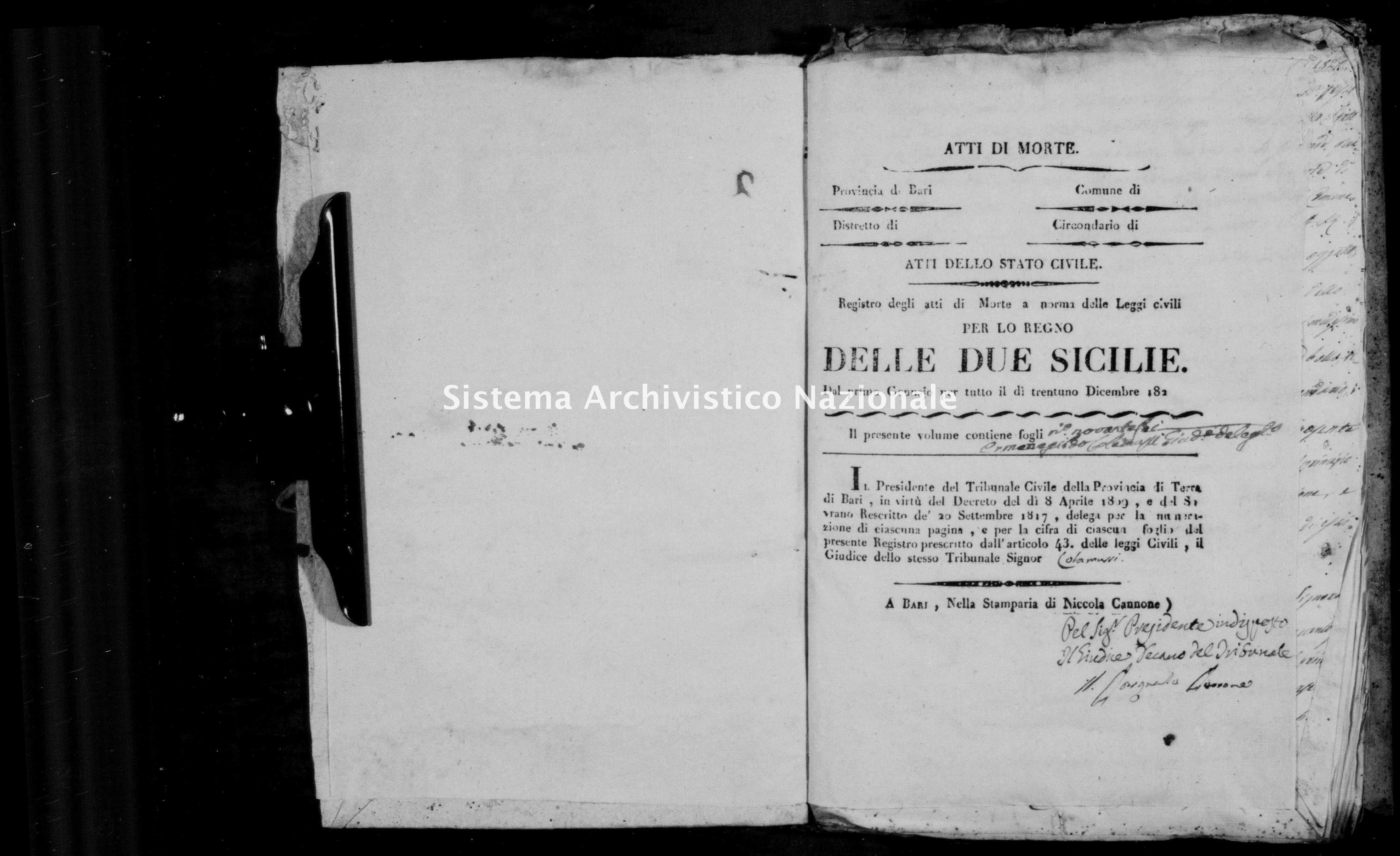 Archivio di stato di Bari - Stato civile della restaurazione - Ceglie - Morti - 1822 -